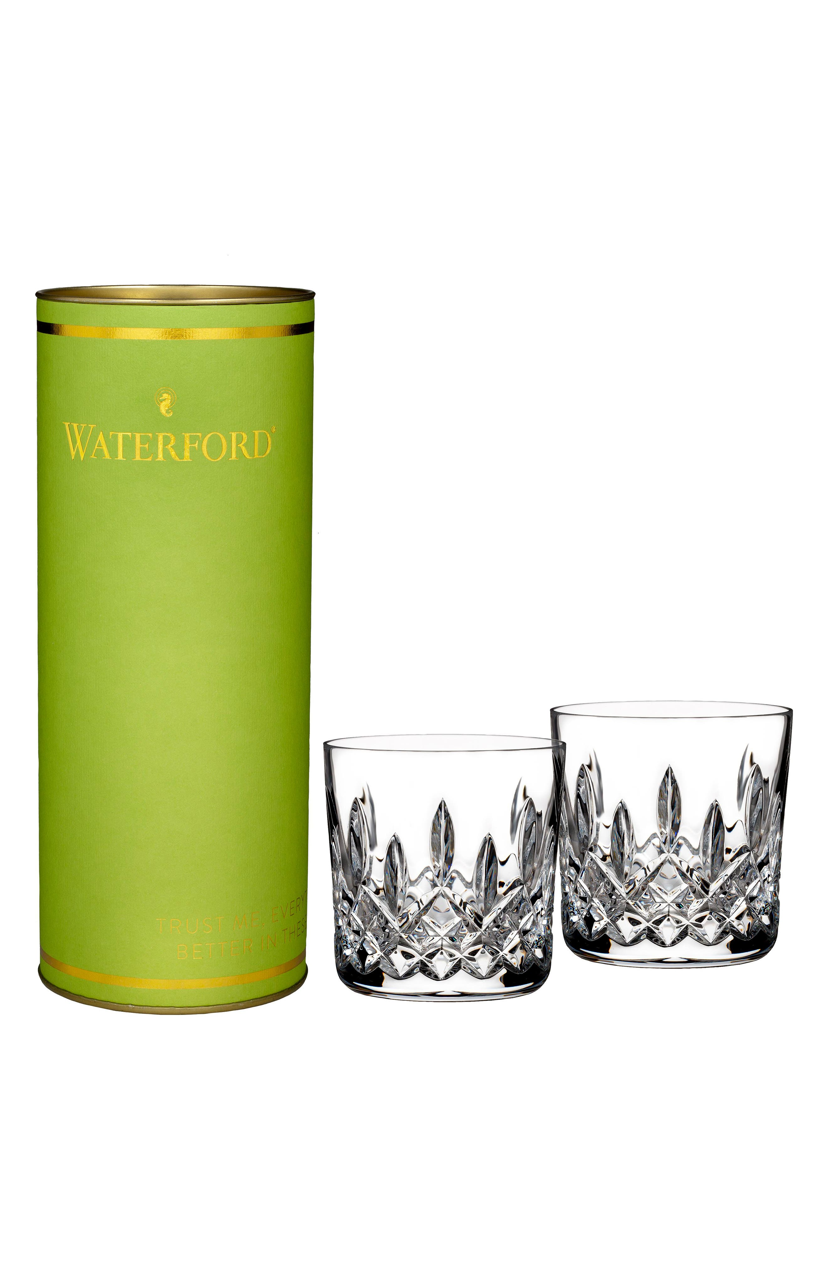 WATERFORD, Giftology Lismore Set of 2 Lead Crystal Double Old Fashioned Glasses, Main thumbnail 1, color, CRYSTAL
