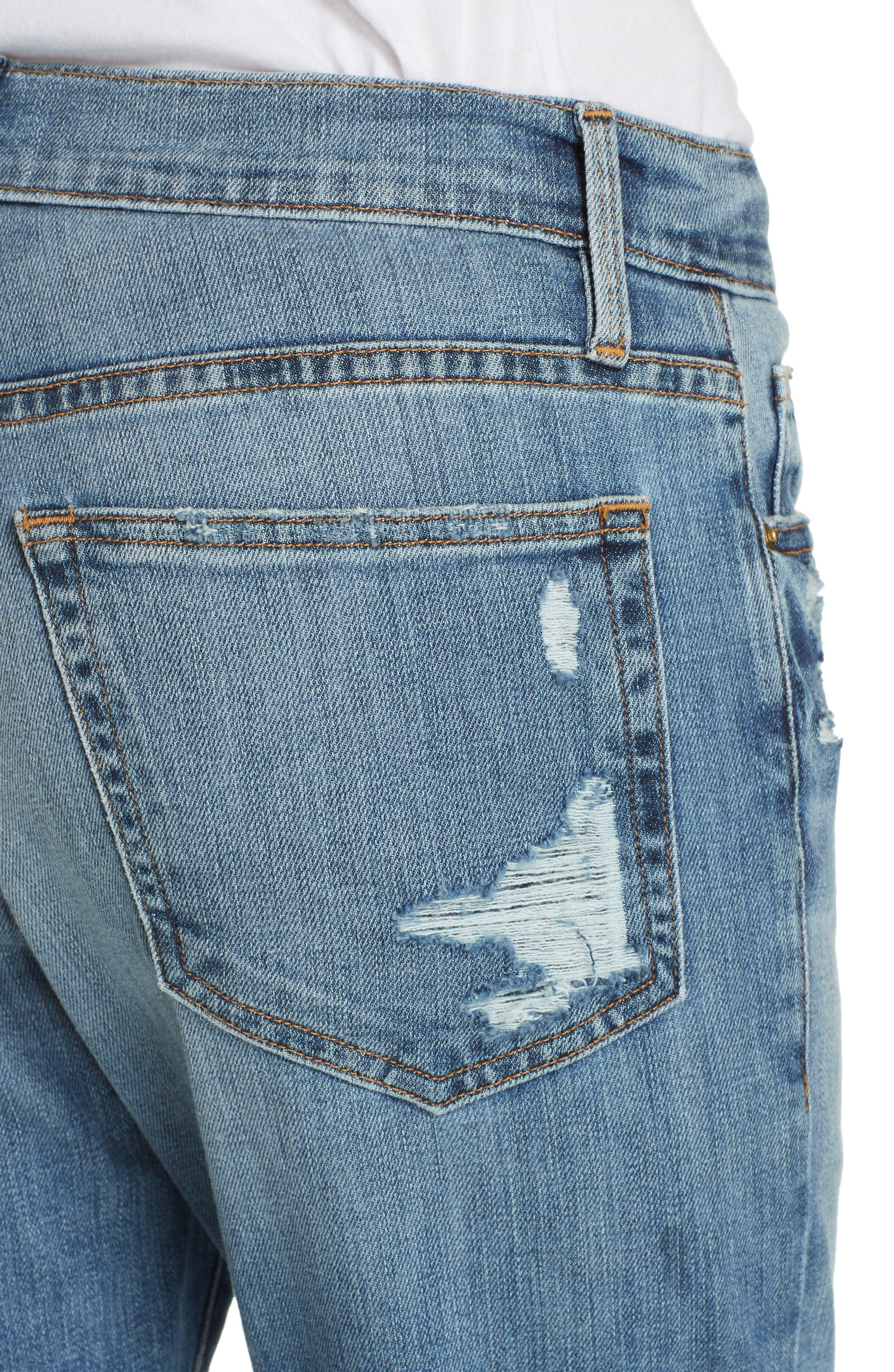 FRAME, Le Boy Distressed Boyfriend Jeans, Alternate thumbnail 5, color, BECKHAM