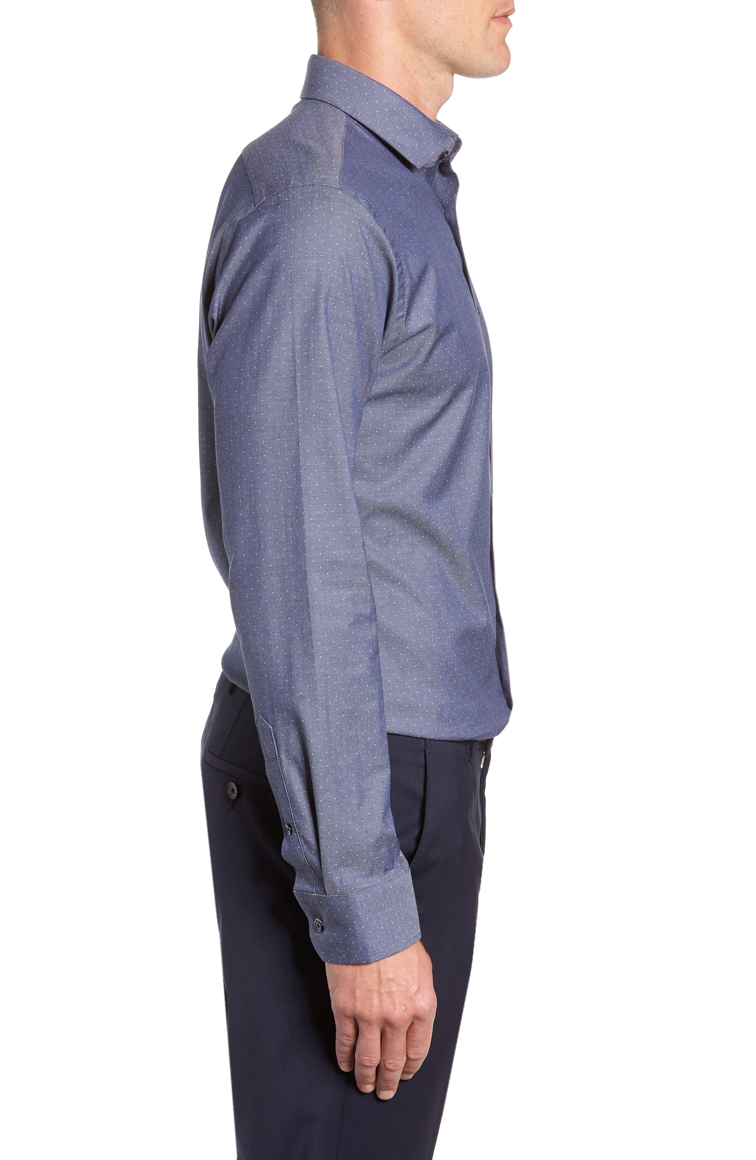 CALIBRATE, Trim Fit Stretch Dot Dress Shirt, Alternate thumbnail 4, color, NAVY PEACOAT
