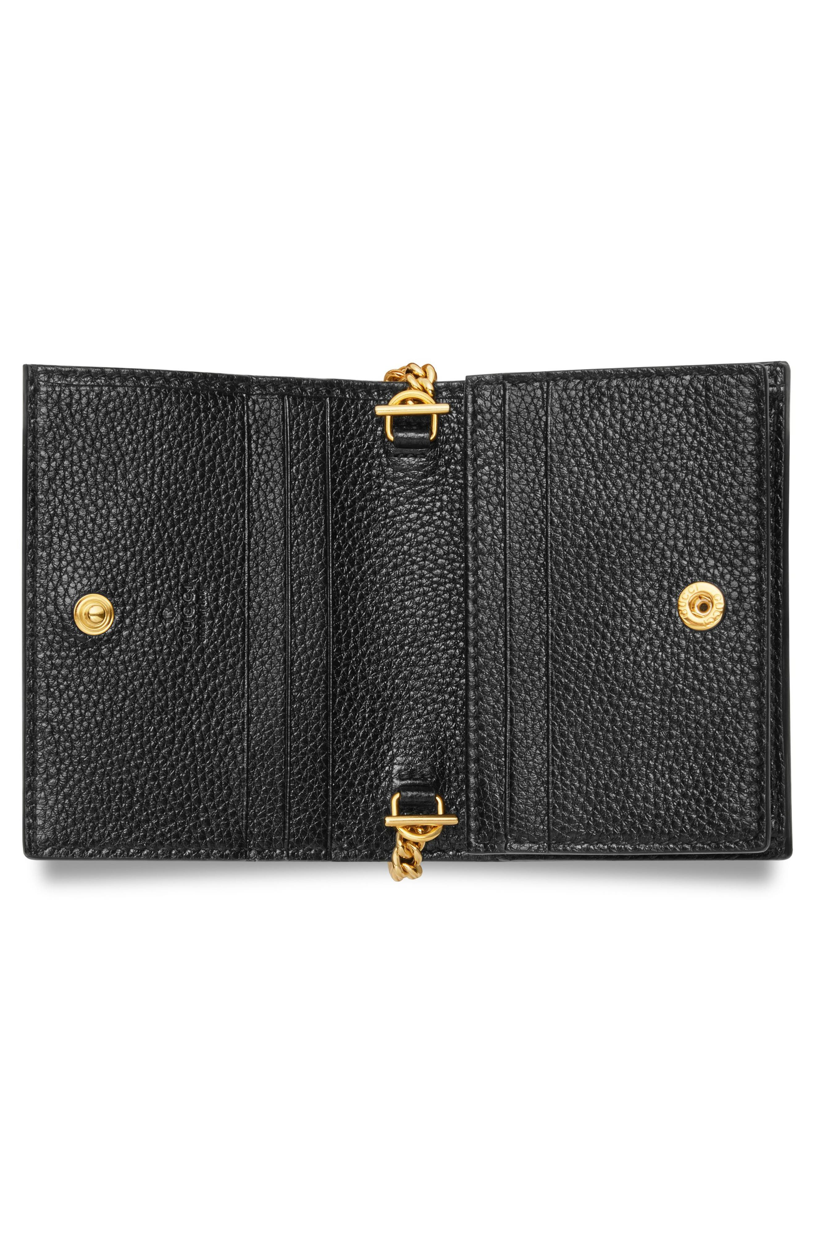 GUCCI, Zumi 655 Leather Wallet on a Chain, Alternate thumbnail 4, color, BLACK