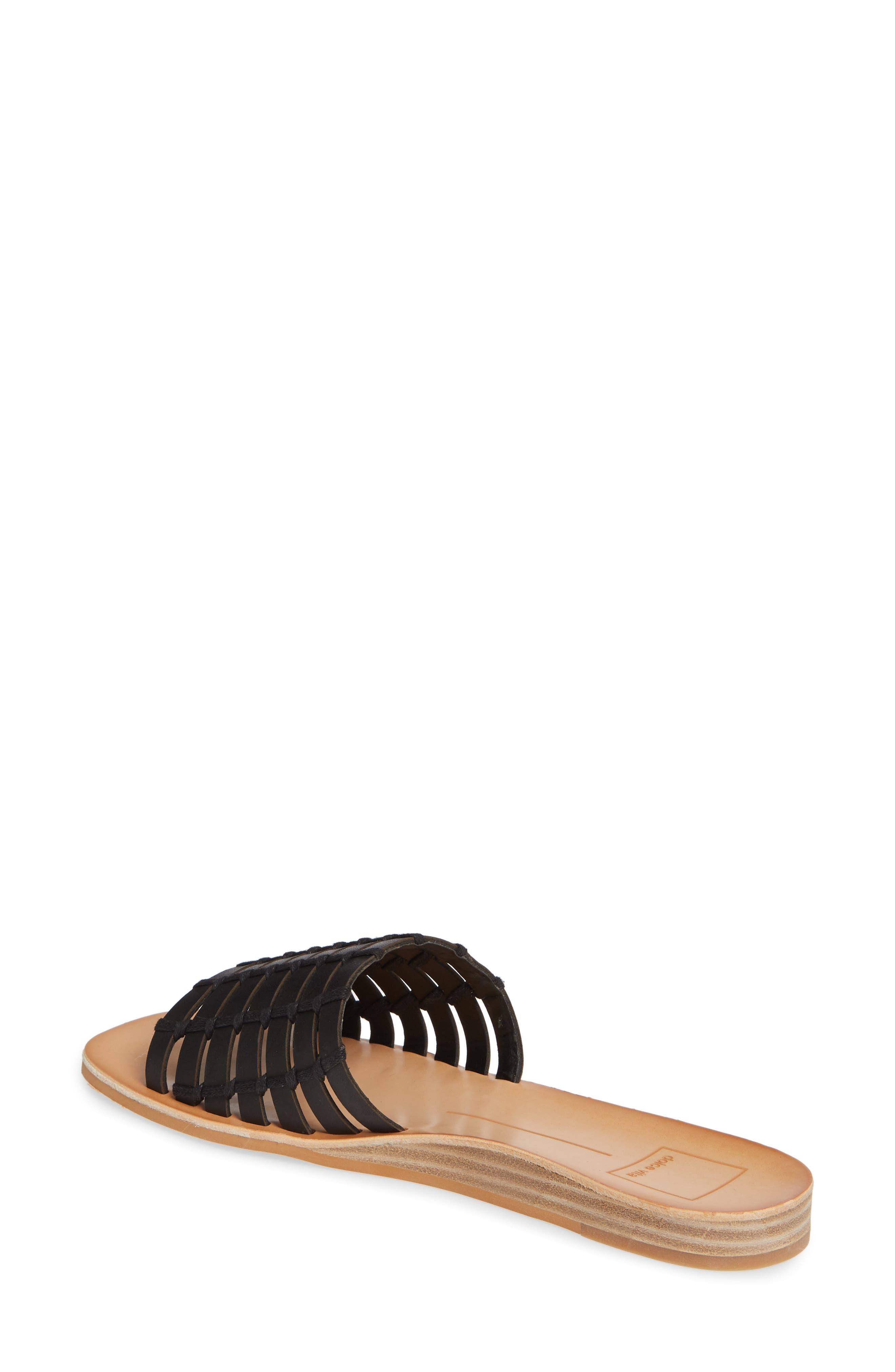 DOLCE VITA, Colsen Slide Sandal, Alternate thumbnail 2, color, BLACK LEATHER