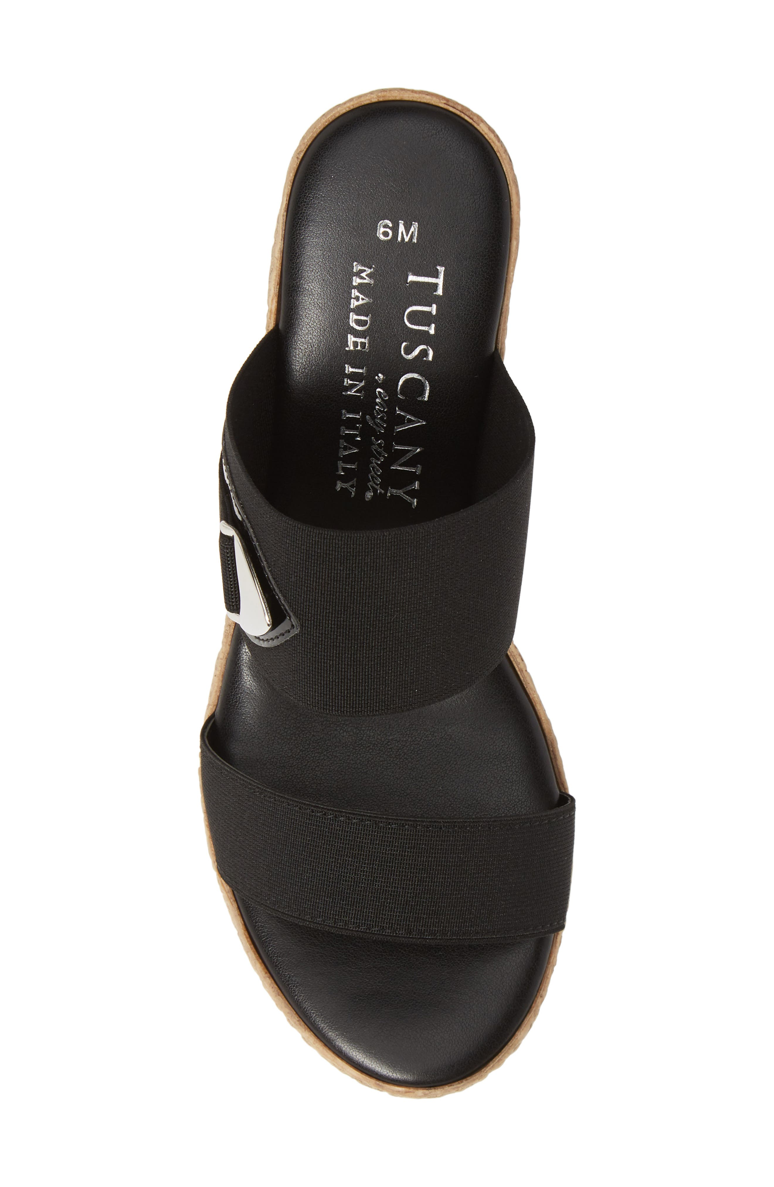 TUSCANY BY EASY STREET<SUP>®</SUP>, Marisole Platform Wedge Sandal, Alternate thumbnail 5, color, BLACK LEATHER