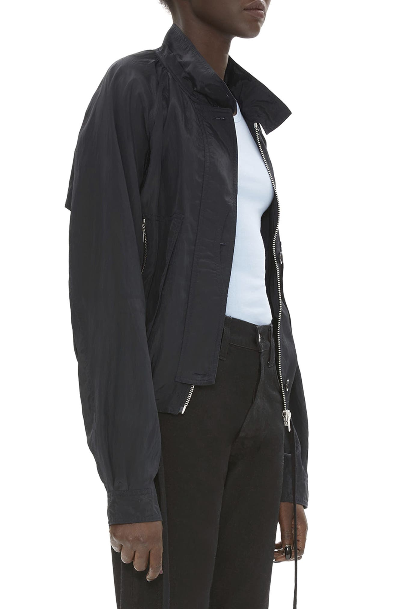 HELMUT LANG, Parachute Short Trench Jacket, Alternate thumbnail 4, color, BLACK
