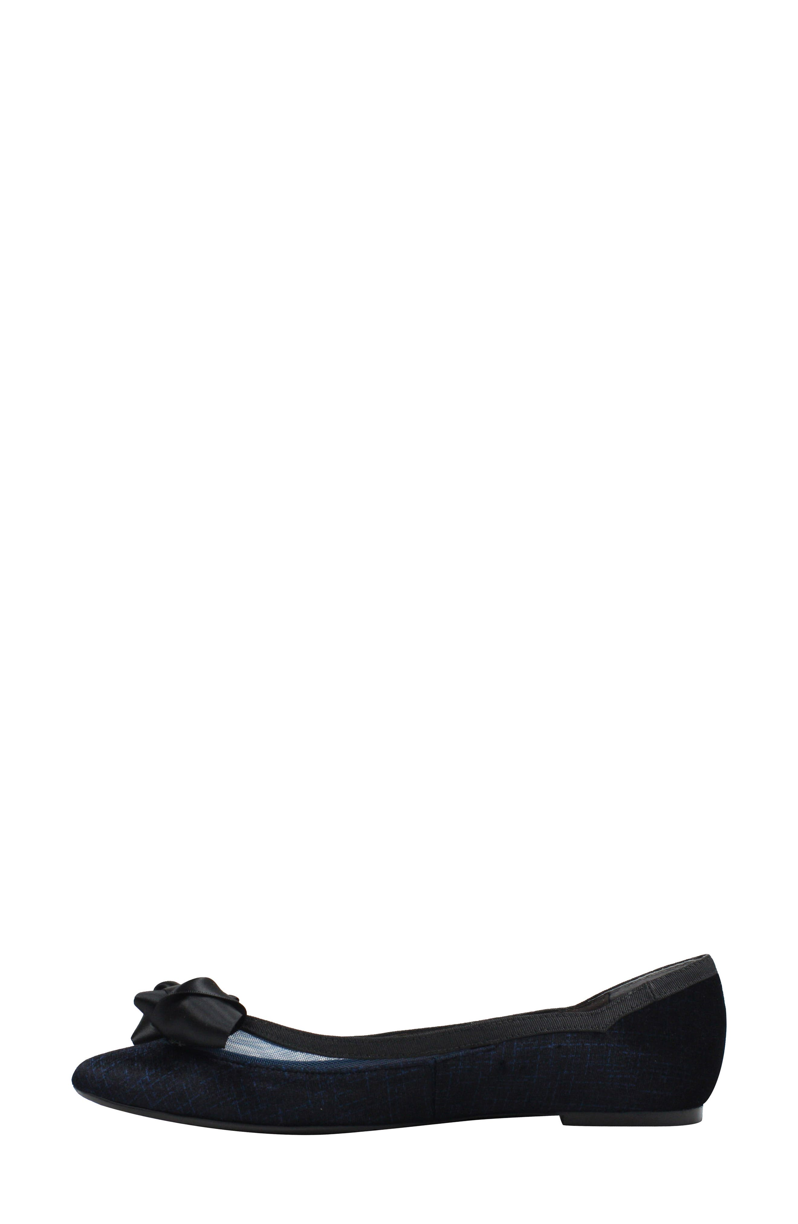 J. RENEÉ, Allitson Bow Flat, Alternate thumbnail 7, color, BLUE/ BLACK FABRIC