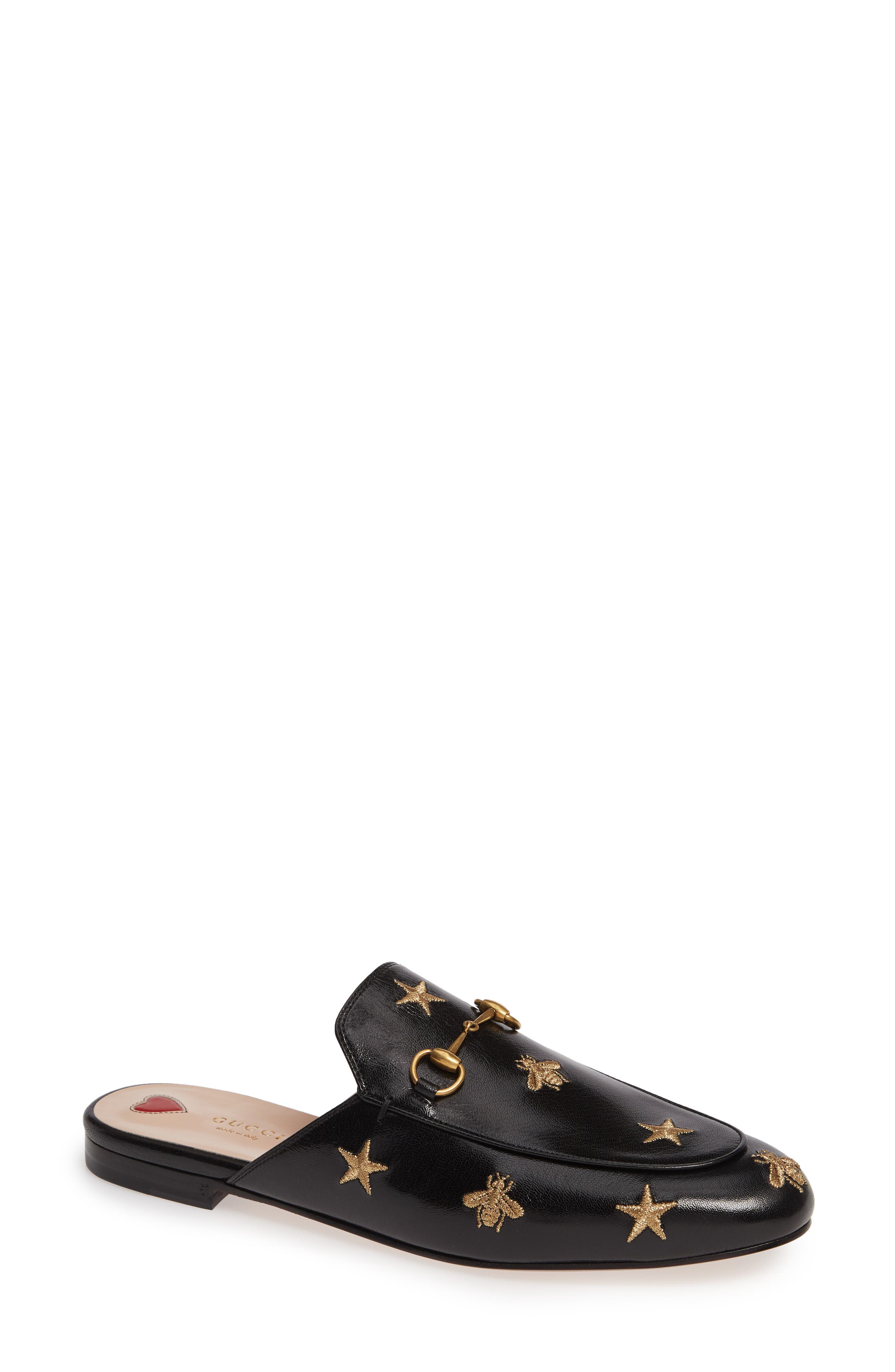 GUCCI, Princetown Mule, Main thumbnail 1, color, BLACK LEATHER
