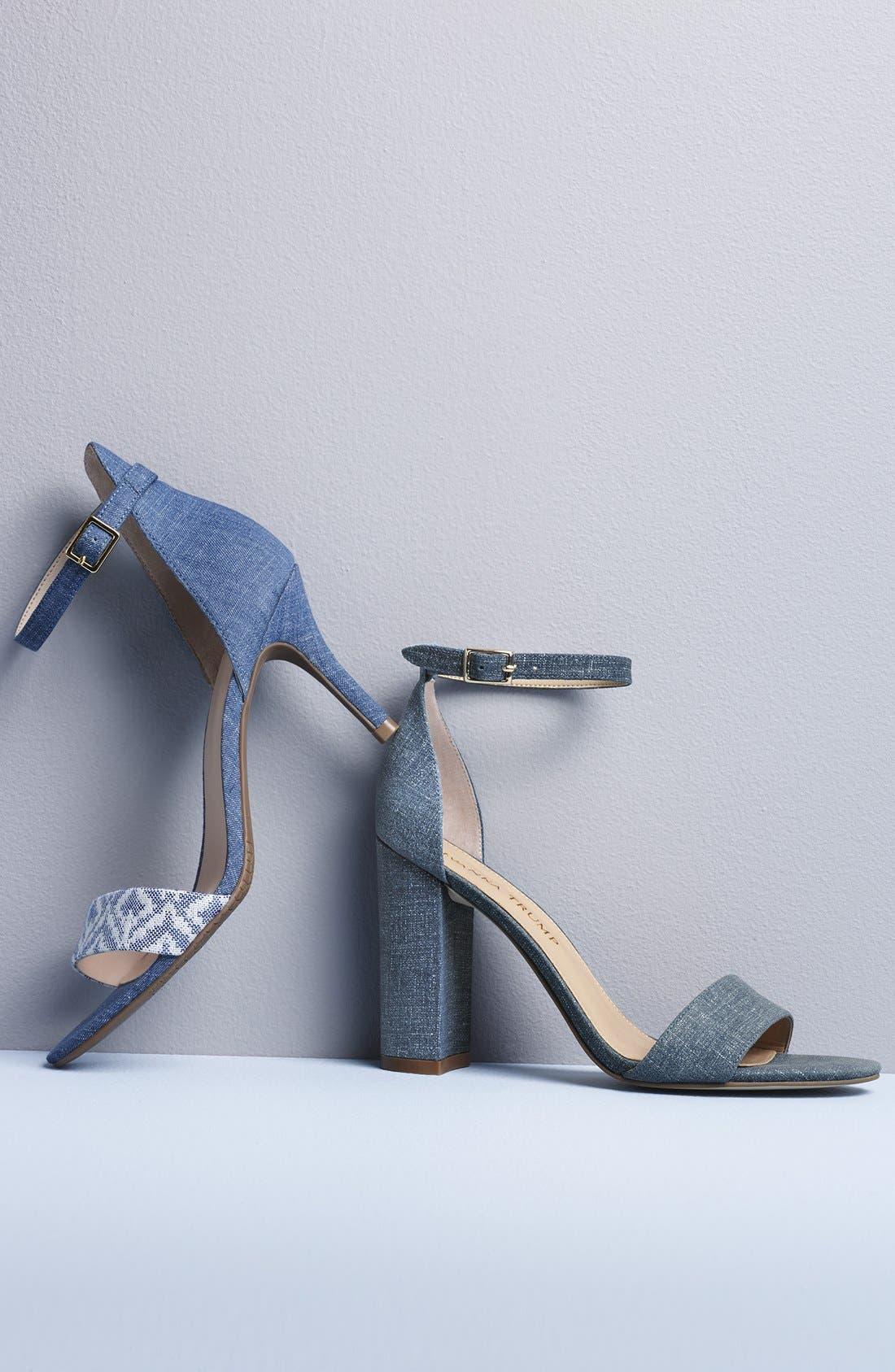 IVANKA TRUMP, 'Klover' Block Heel Ankle Strap Sandal, Alternate thumbnail 4, color, 009