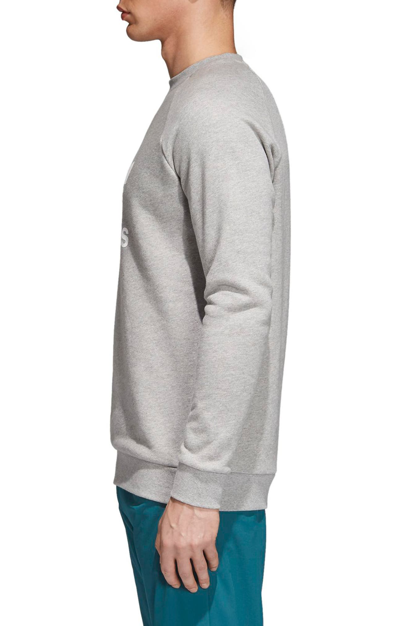 ADIDAS ORIGINALS, adidas Trefoil Crewneck Sweatshirt, Alternate thumbnail 3, color, MEDIUM GREY HEATHER