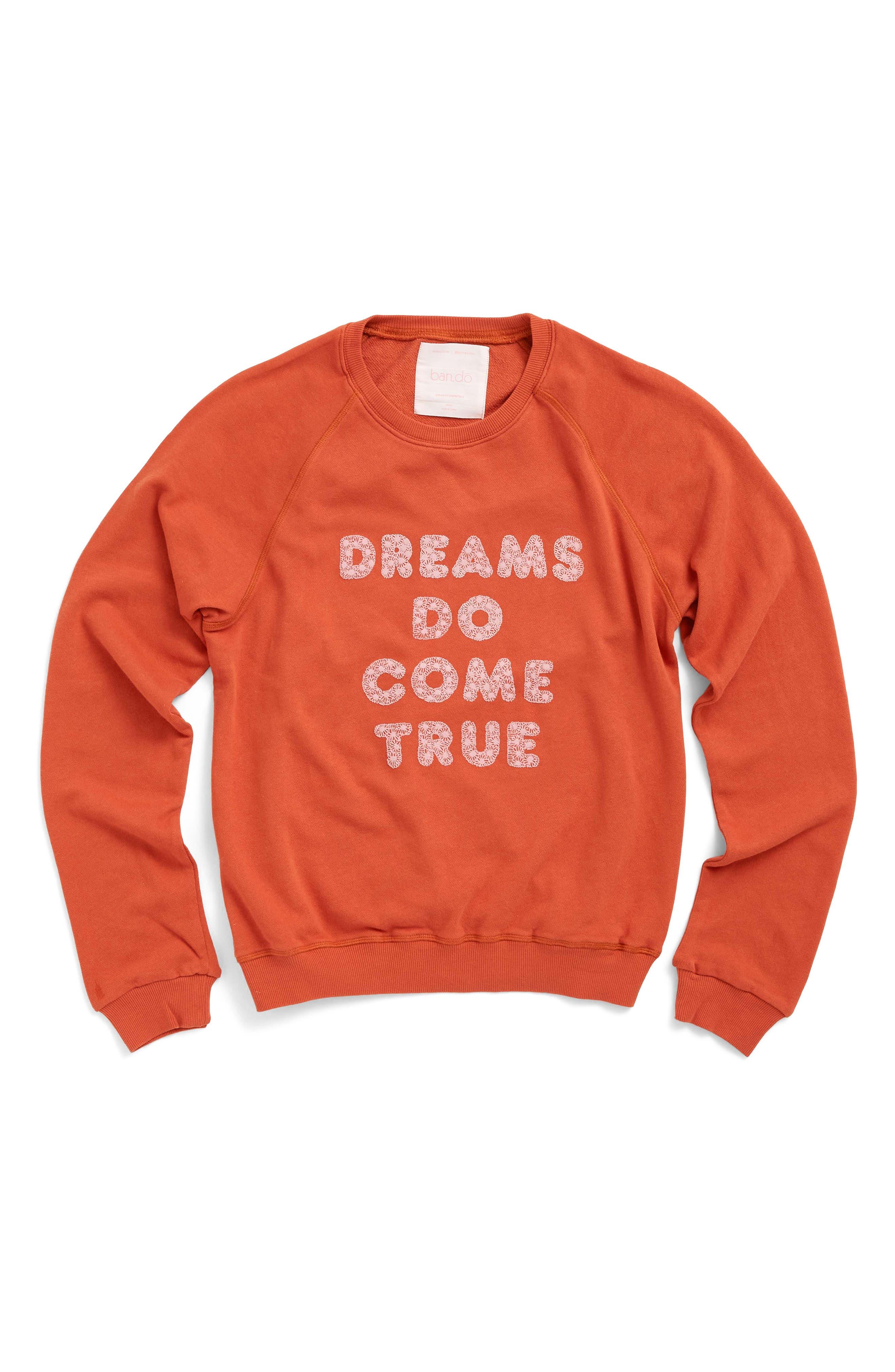 BAN.DO, Dreams Do Come True Sweatshirt, Alternate thumbnail 2, color, RUST