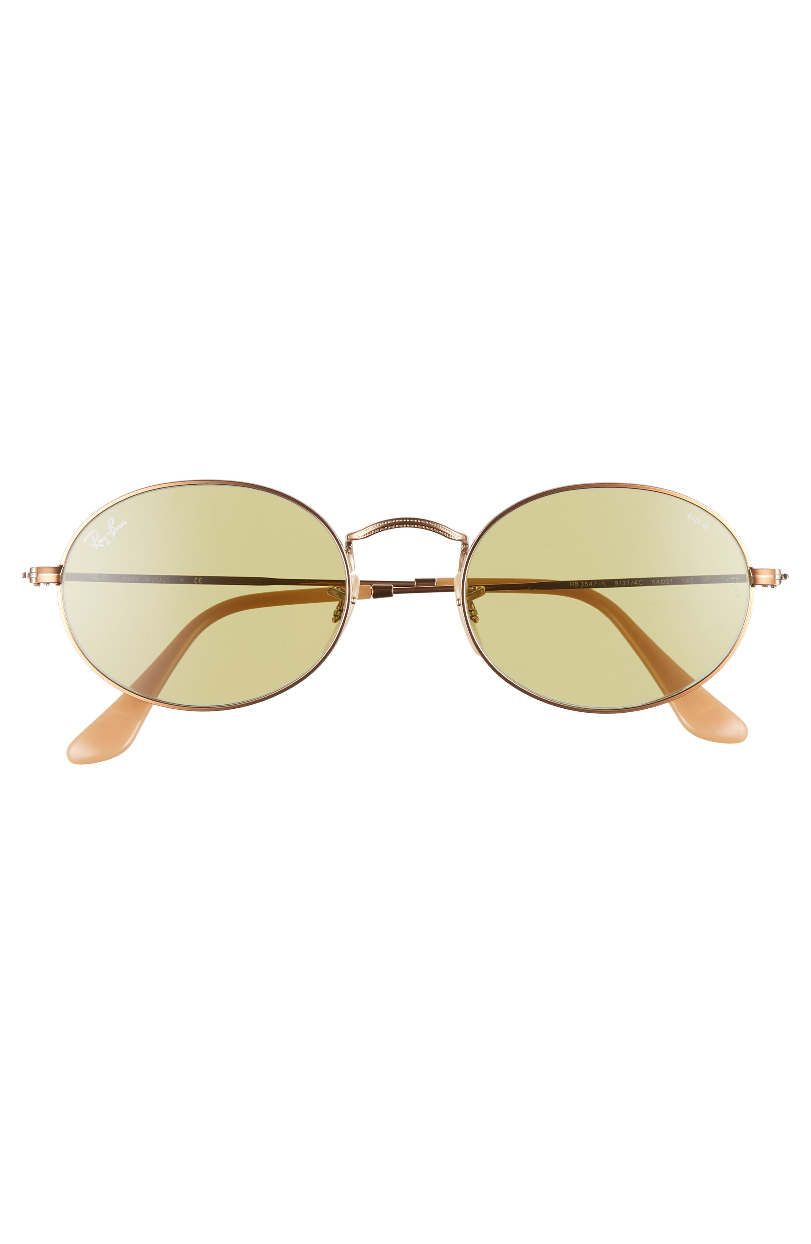 RAY-BAN, Evolve 54mm Polarized Oval Sunglasses, Alternate thumbnail 3, color, GOLD/ GREEN SOLID