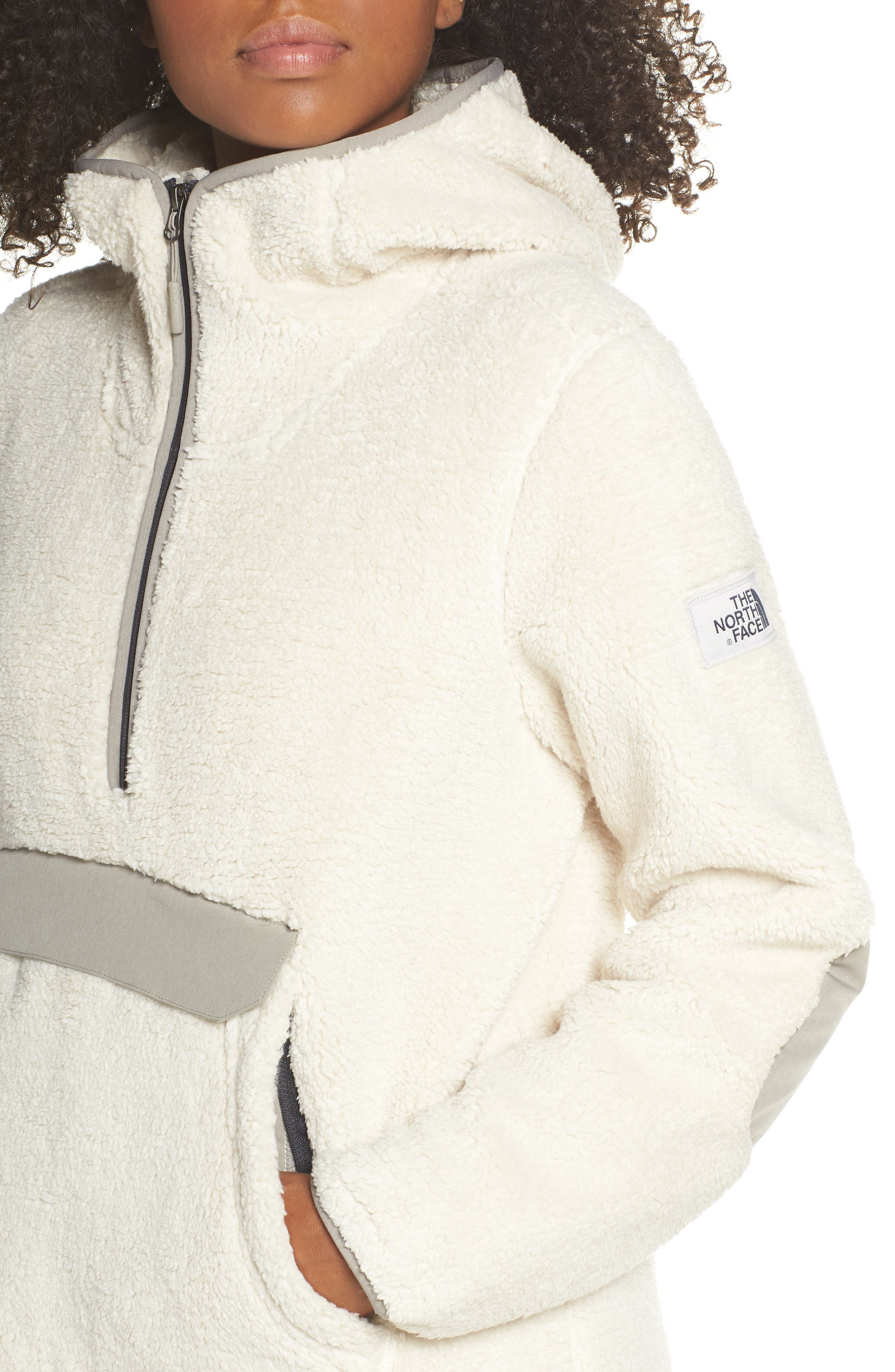 THE NORTH FACE, Campshire High Pile Fleece Pullover Hoodie, Alternate thumbnail 5, color, VINTAGE WHITE/ GREY