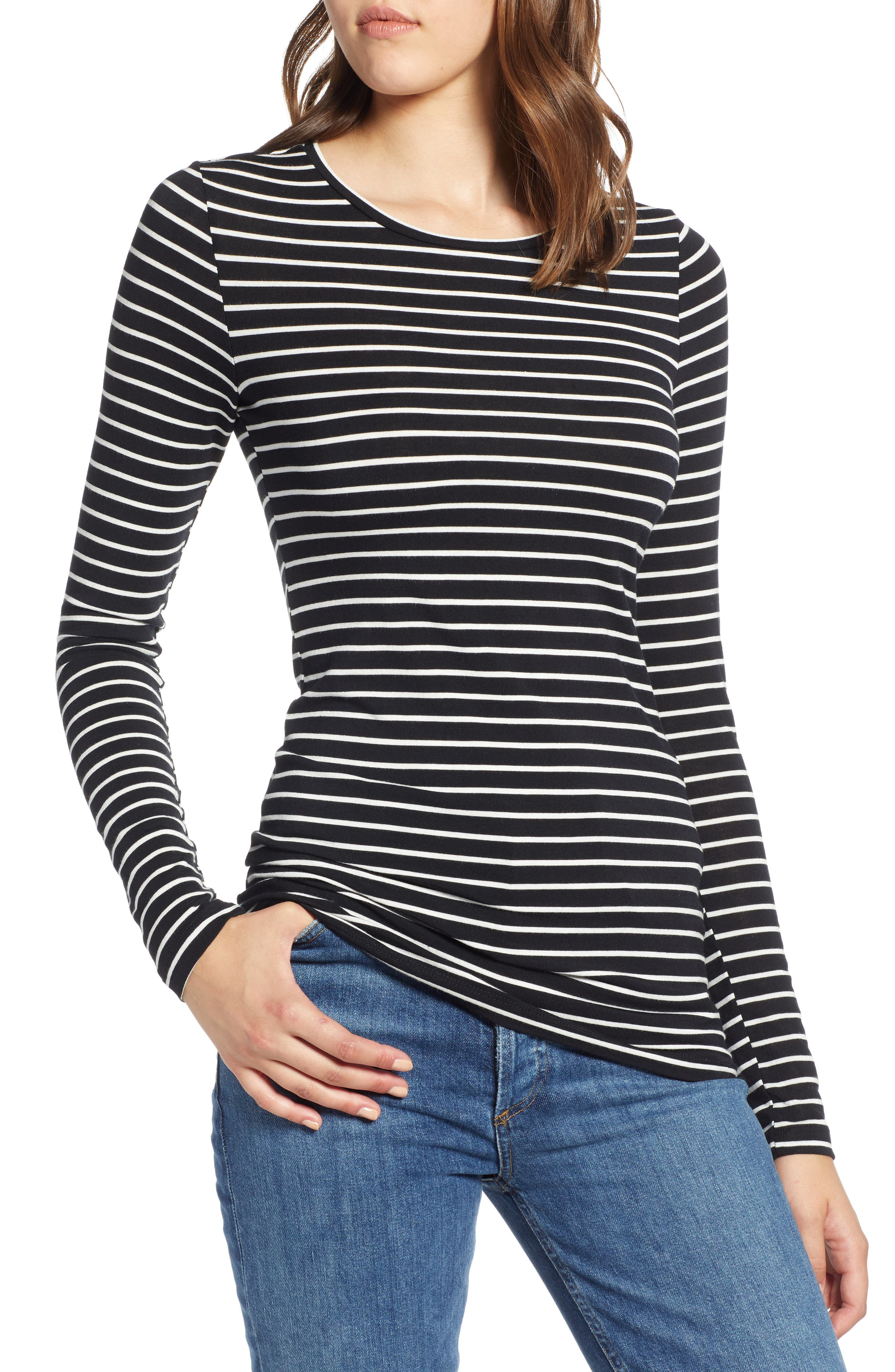 HALOGEN<SUP>®</SUP> Long Sleeve Modal Blend Tee, Main, color, BLACK- IVORY ASHLEY STRIPE