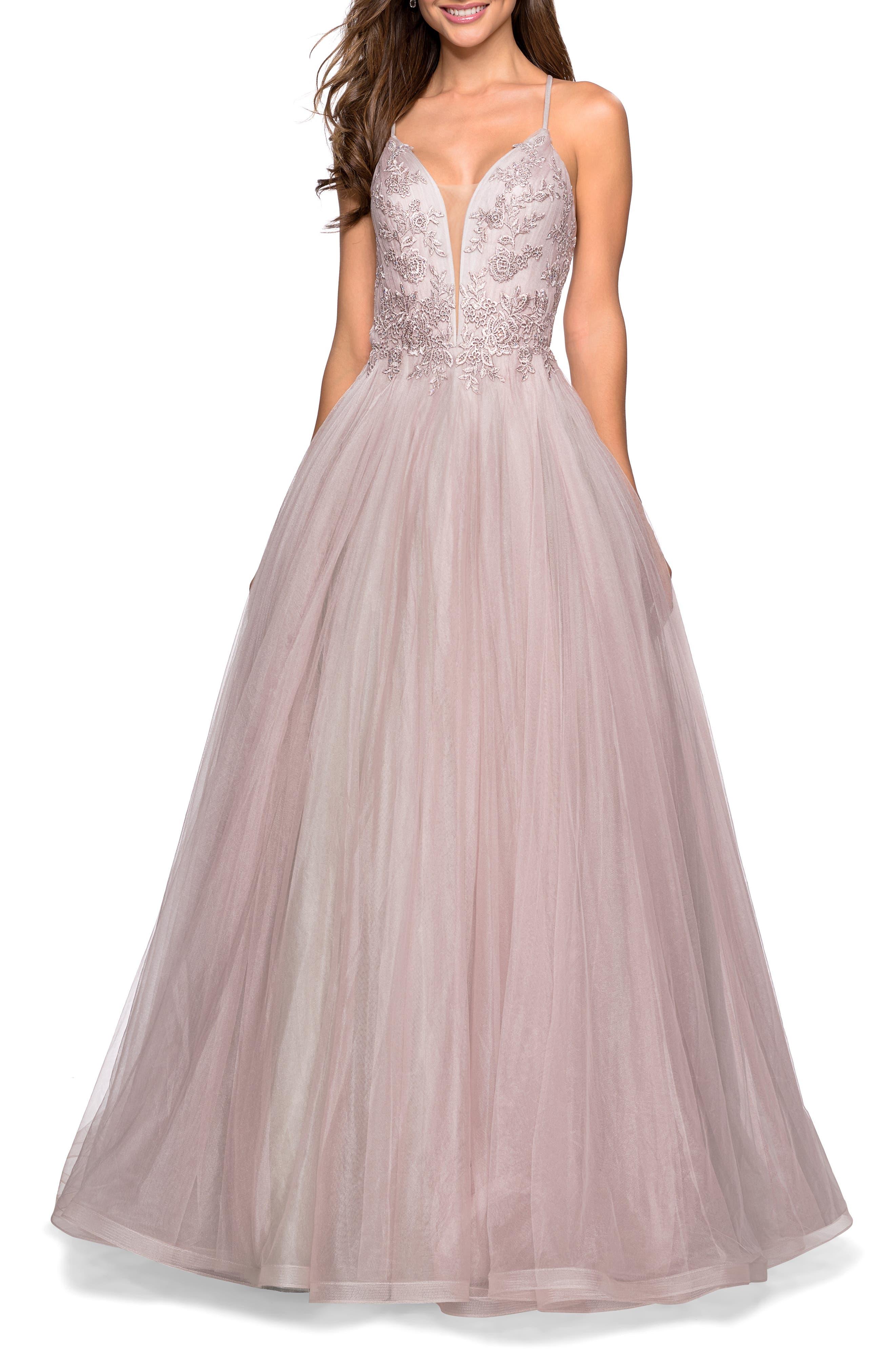 La Femme Tulle & Lace Evening Dress, Purple