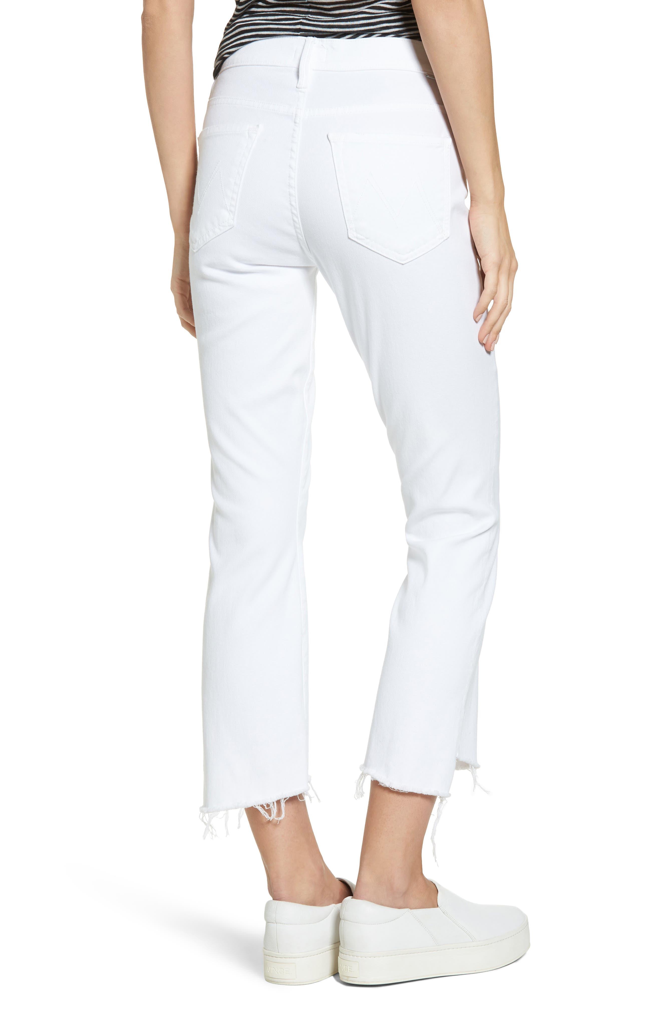 MOTHER, The Insider Step Hem Crop Bootcut Jeans, Alternate thumbnail 2, color, 100