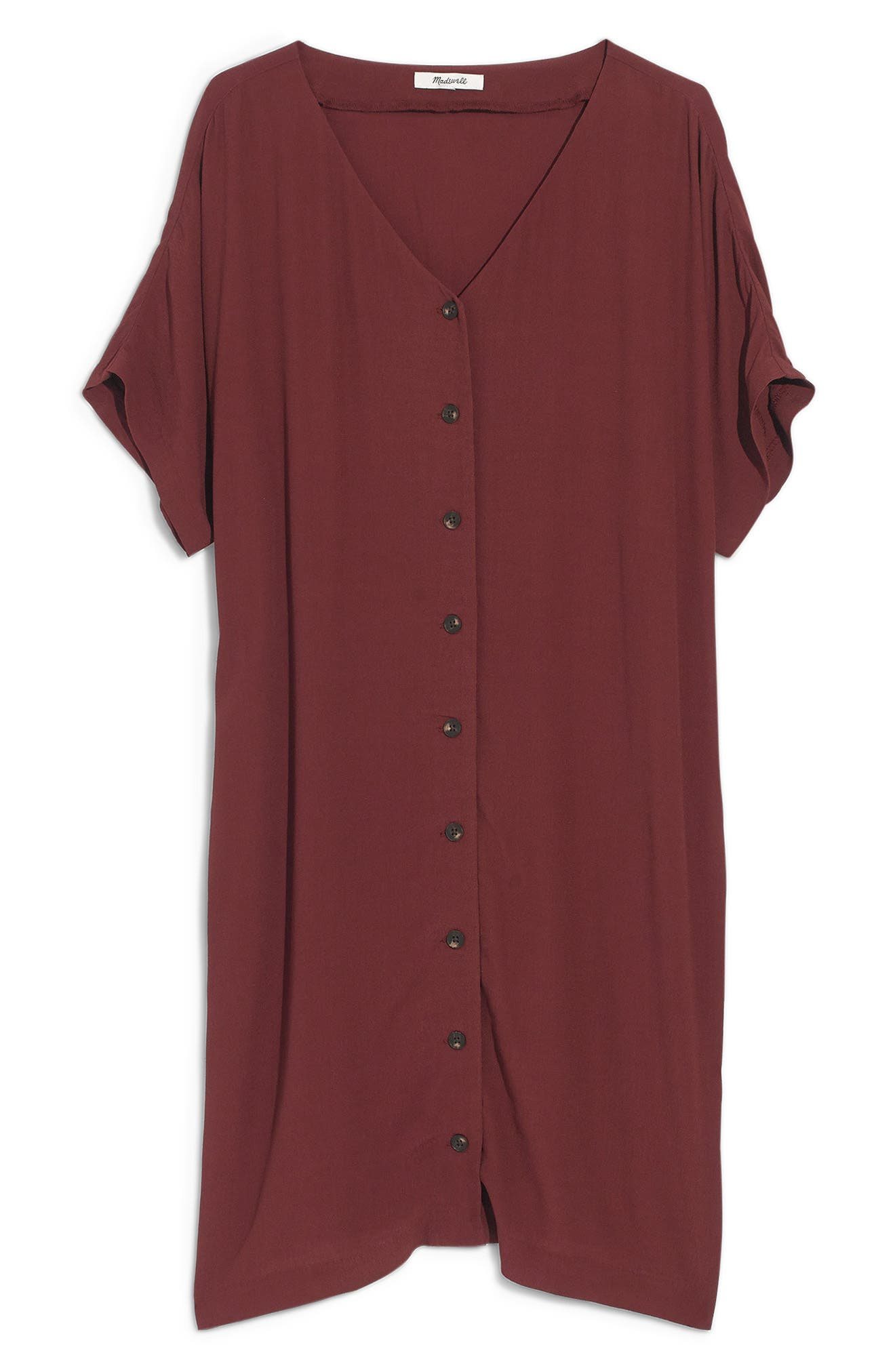 MADEWELL, Button Front Easy Dress, Alternate thumbnail 7, color, RICH BURGUNDY
