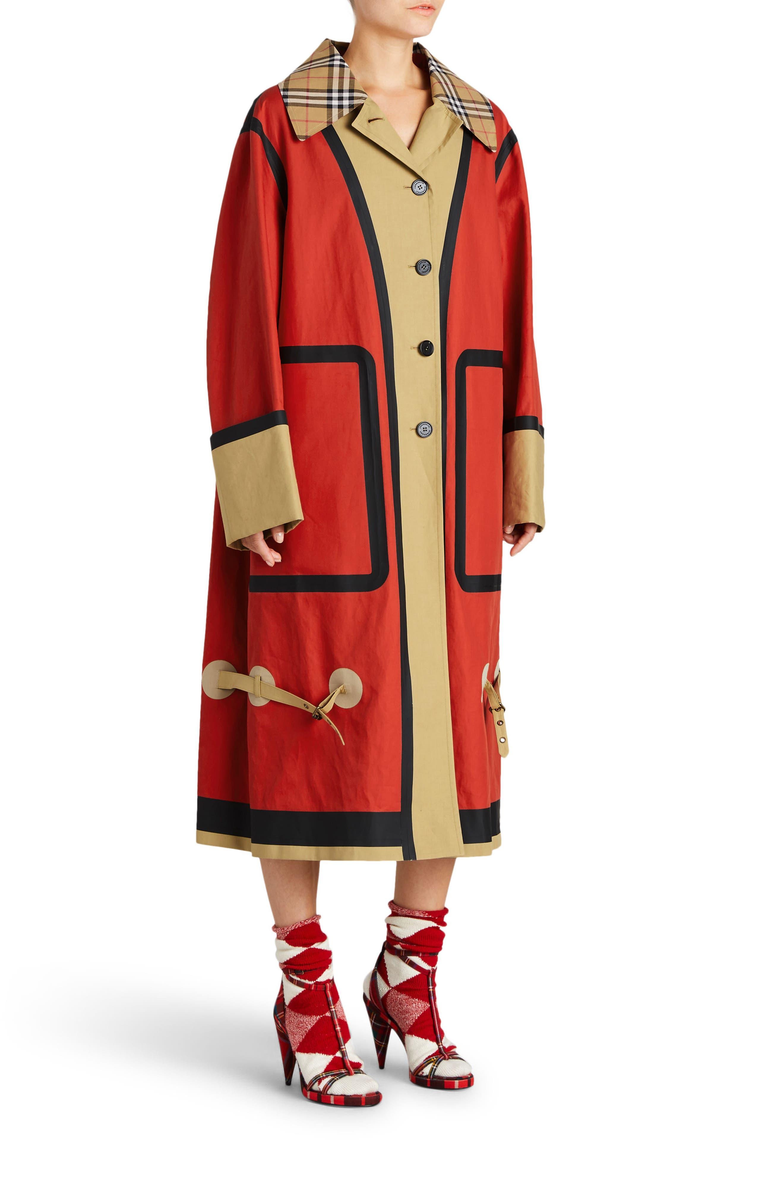 BURBERRY, Colorblock Cotton Car Coat, Alternate thumbnail 3, color, 600
