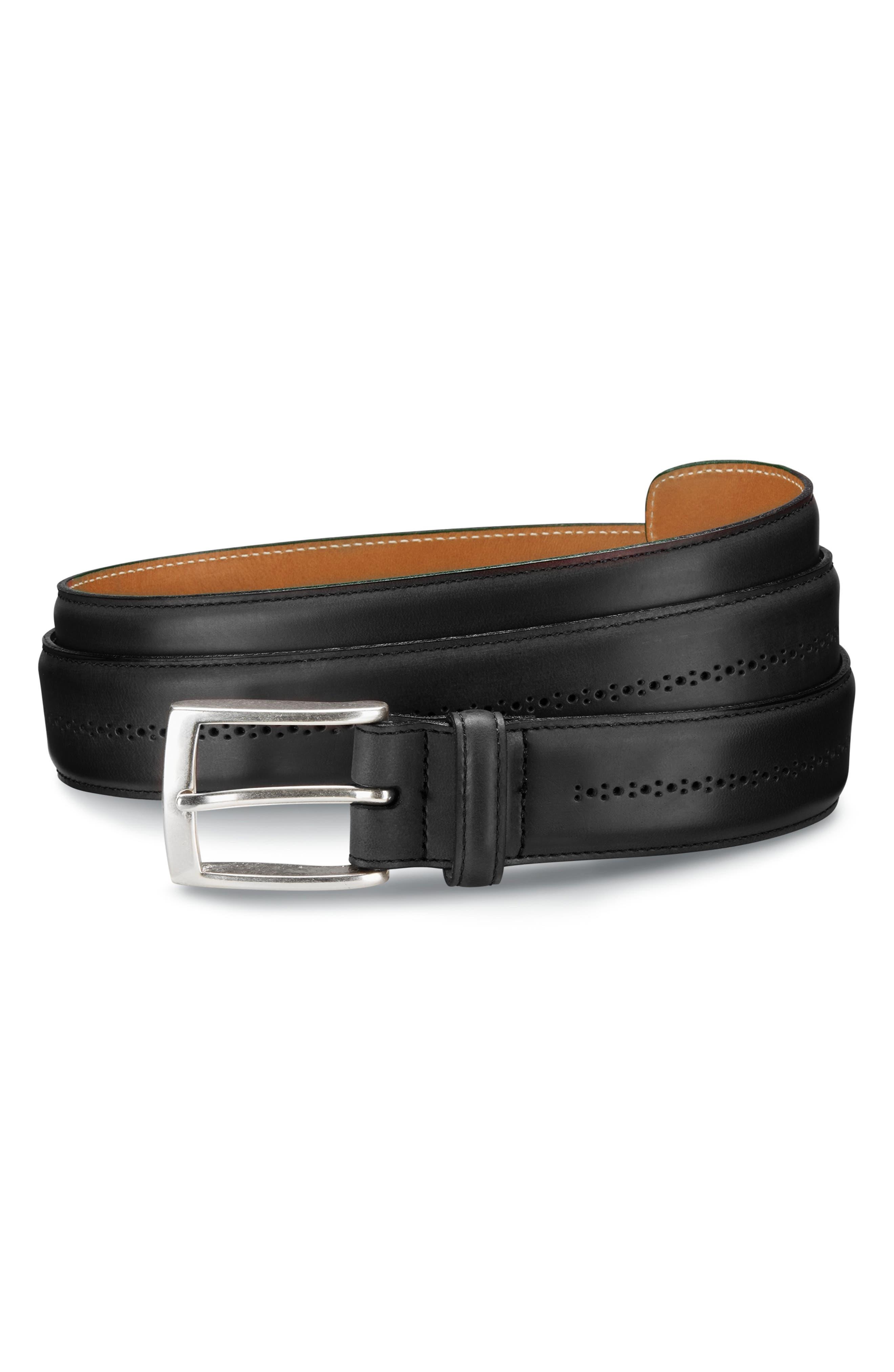 ALLEN EDMONDS Mackey Ave Leather Belt, Main, color, 001