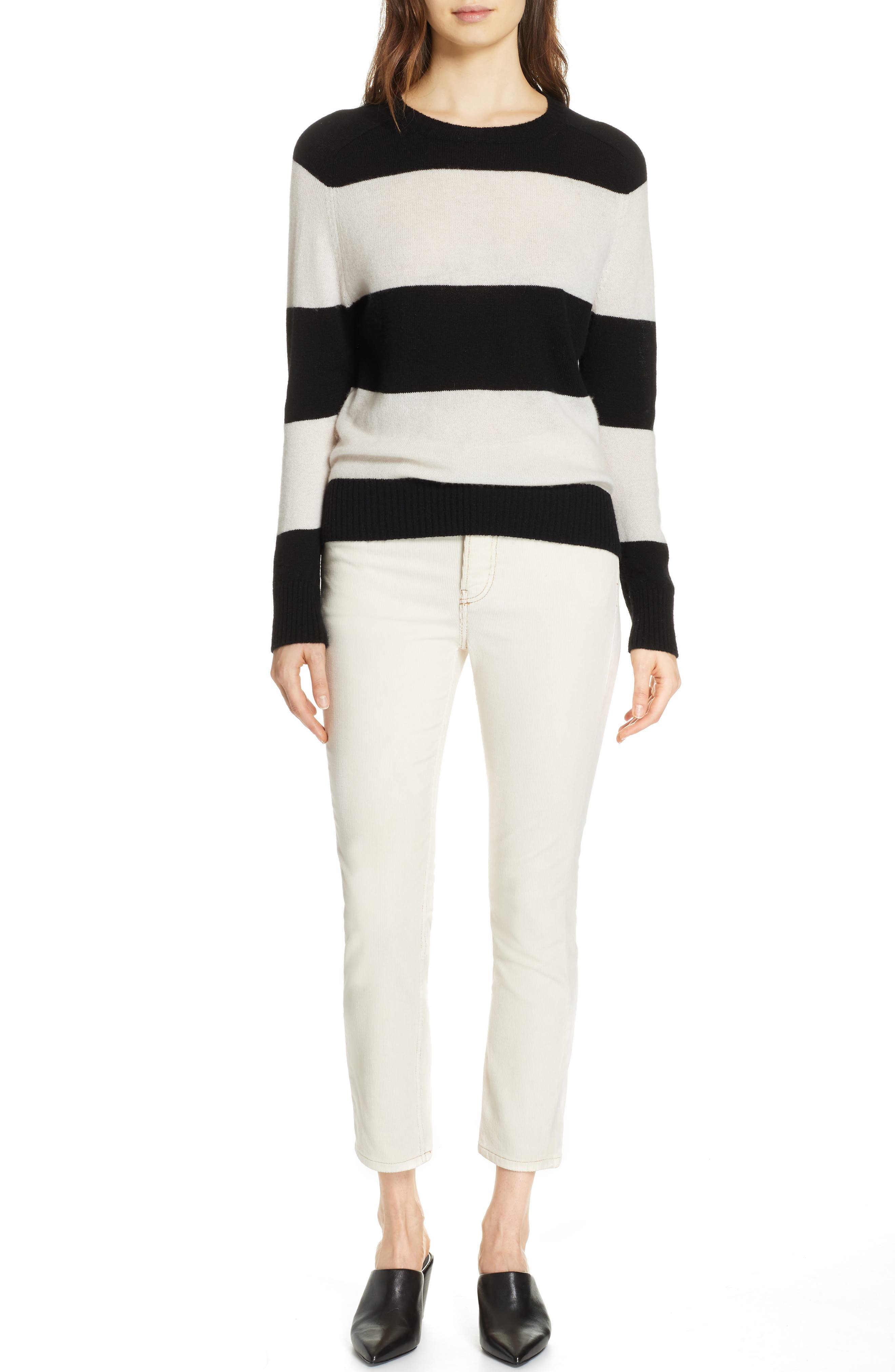 RE/DONE, Stripe Wool & Cashmere Sweater, Alternate thumbnail 7, color, BLACK/ IVORY