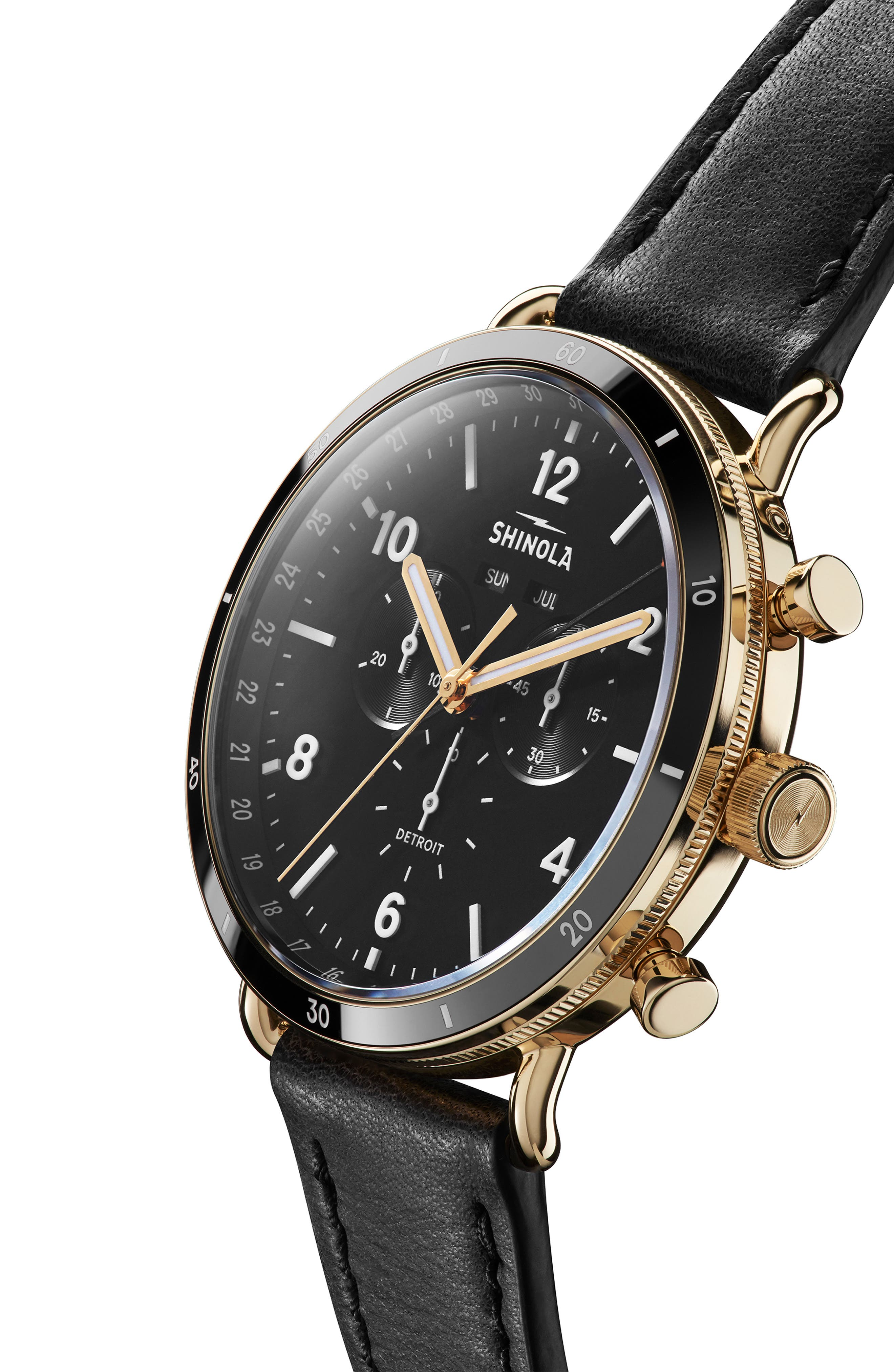 SHINOLA, The Canfield Sport Chrongraph Leather Strap Watch, 45mm, Alternate thumbnail 4, color, BLACK/ GOLD