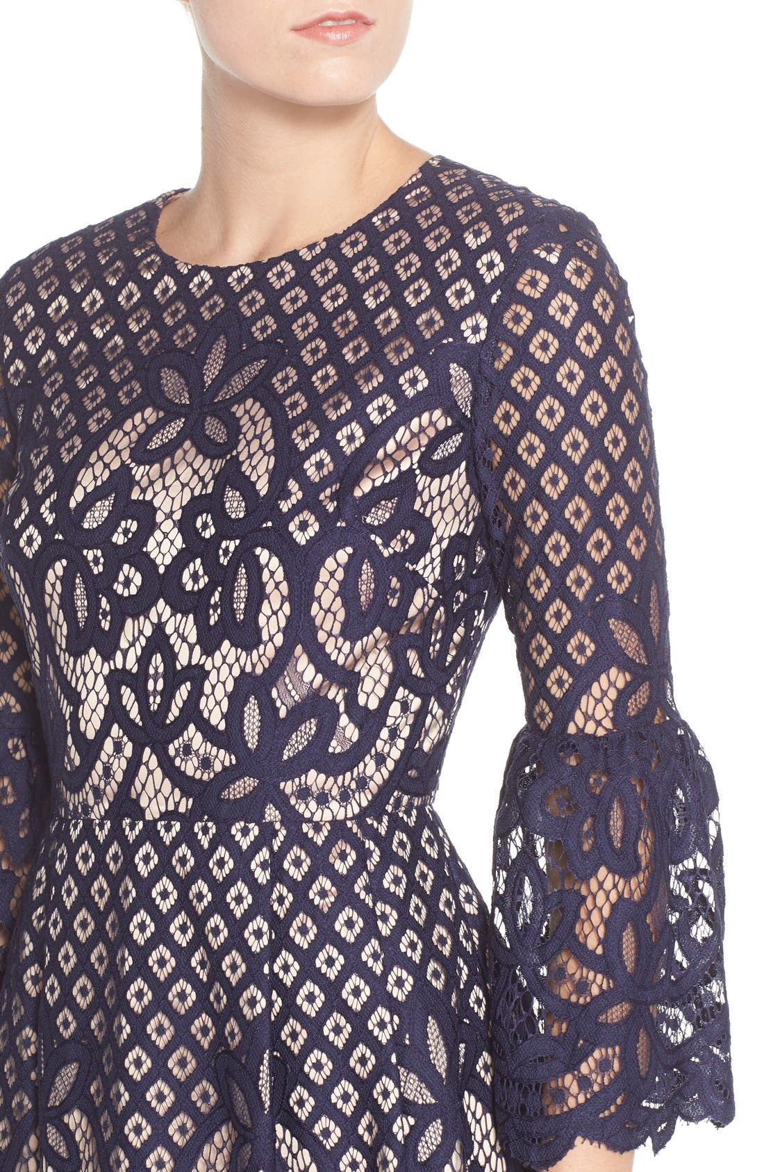 ELIZA J, Bell Sleeve Lace Fit & Flare Dress, Alternate thumbnail 2, color, 410