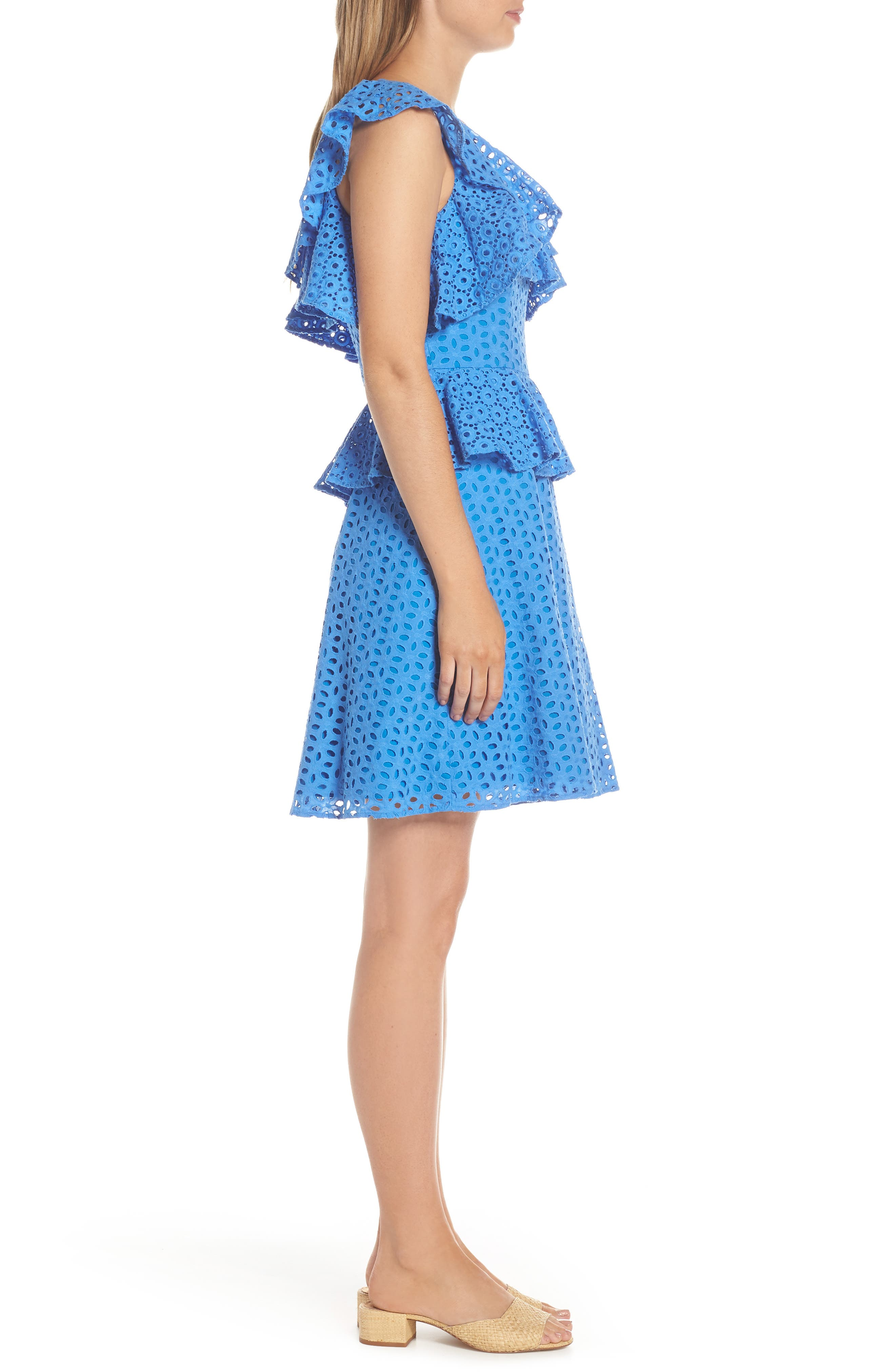 LILLY PULITZER<SUP>®</SUP>, Josey Eyelet One-Shoulder Dress, Alternate thumbnail 3, color, COASTAL BLUE OVAL FLOWER