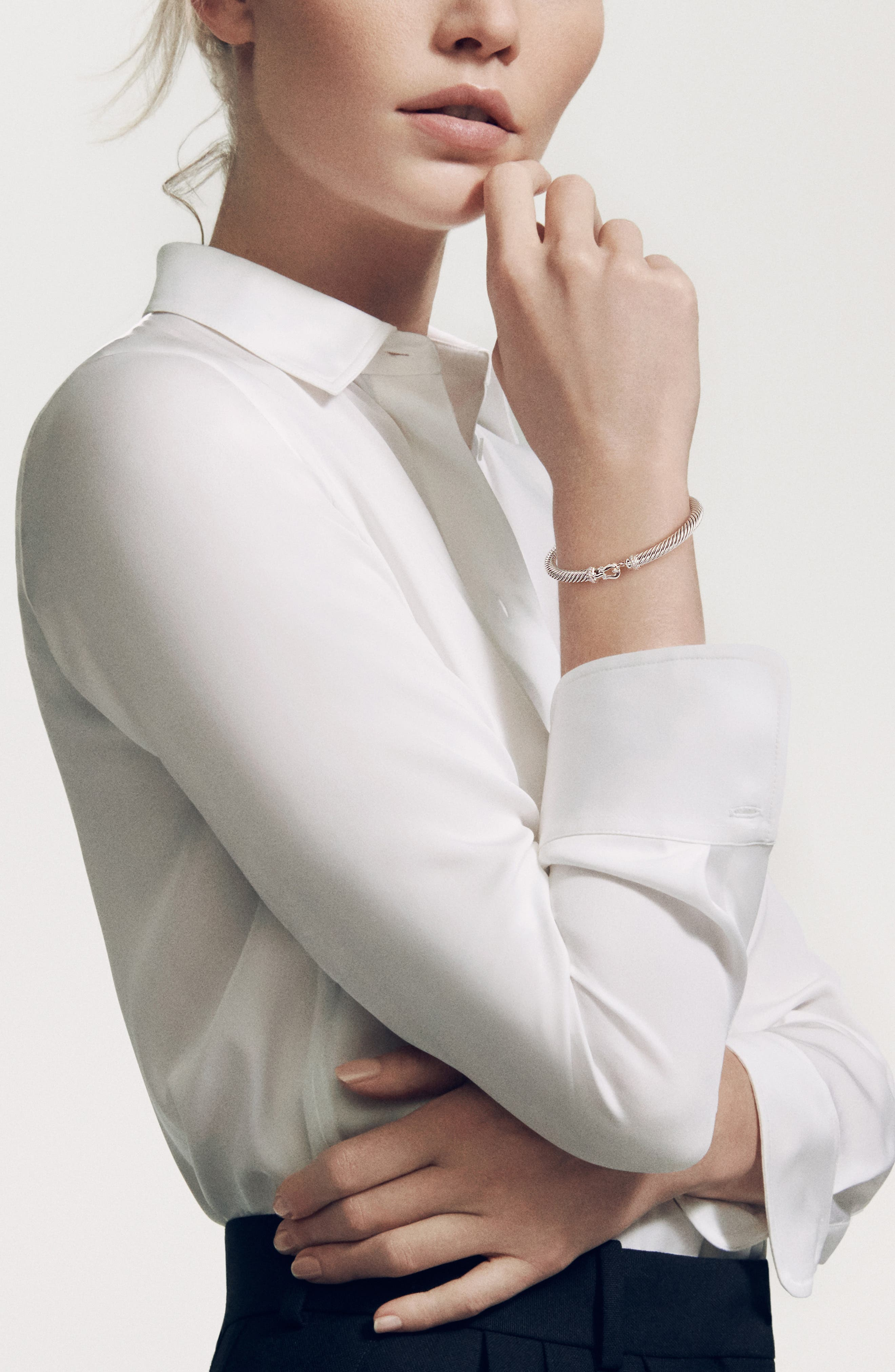 DAVID YURMAN, Cable Buckle Bracelet with Diamonds, 5mm, Alternate thumbnail 2, color, DIAMOND