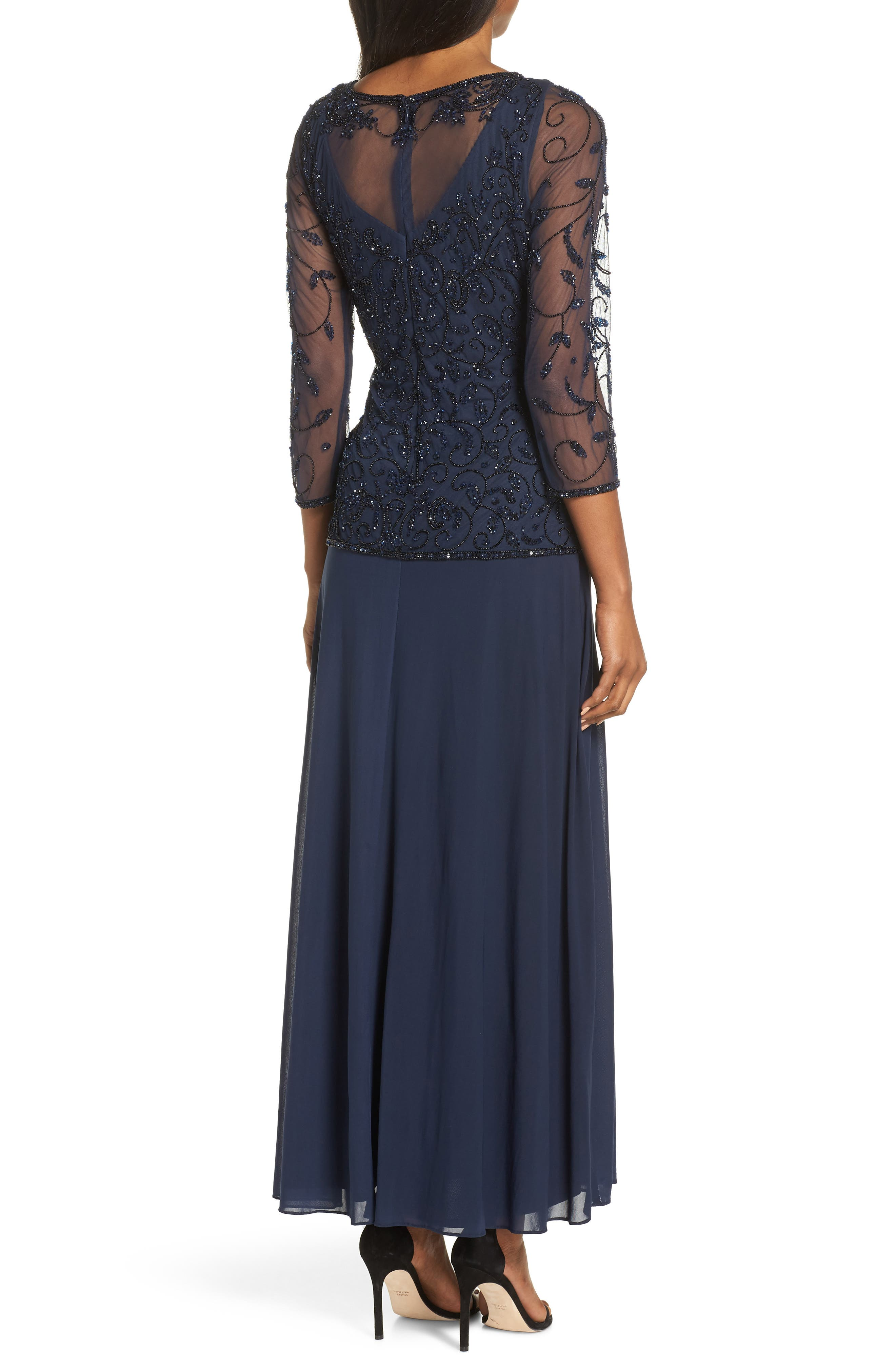 PISARRO NIGHTS, Beaded Mesh Mock Two-Piece Gown, Alternate thumbnail 2, color, NAVY/ BLACK