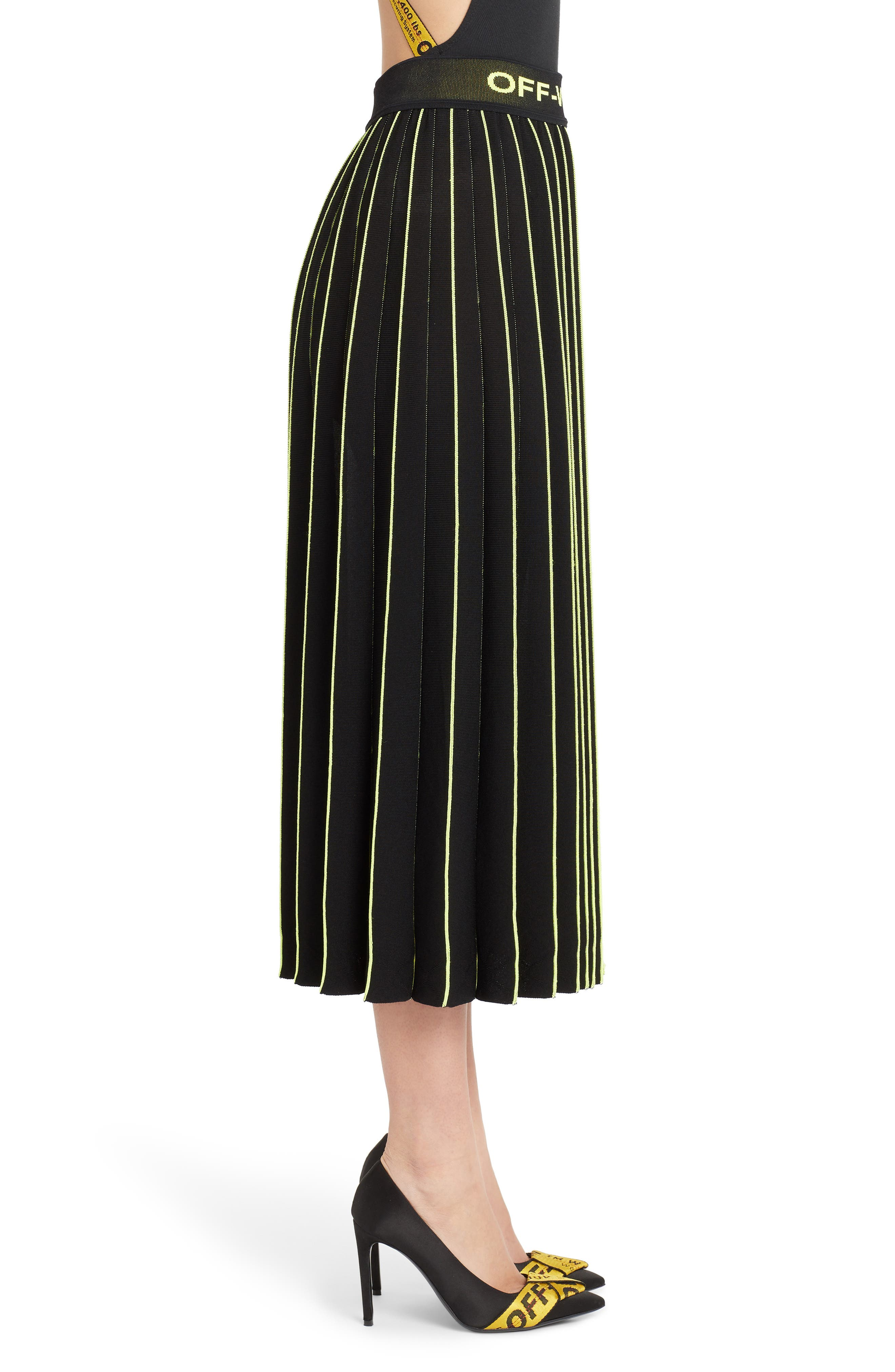 OFF-WHITE, Plissé Sweater Skirt, Alternate thumbnail 3, color, BLACK