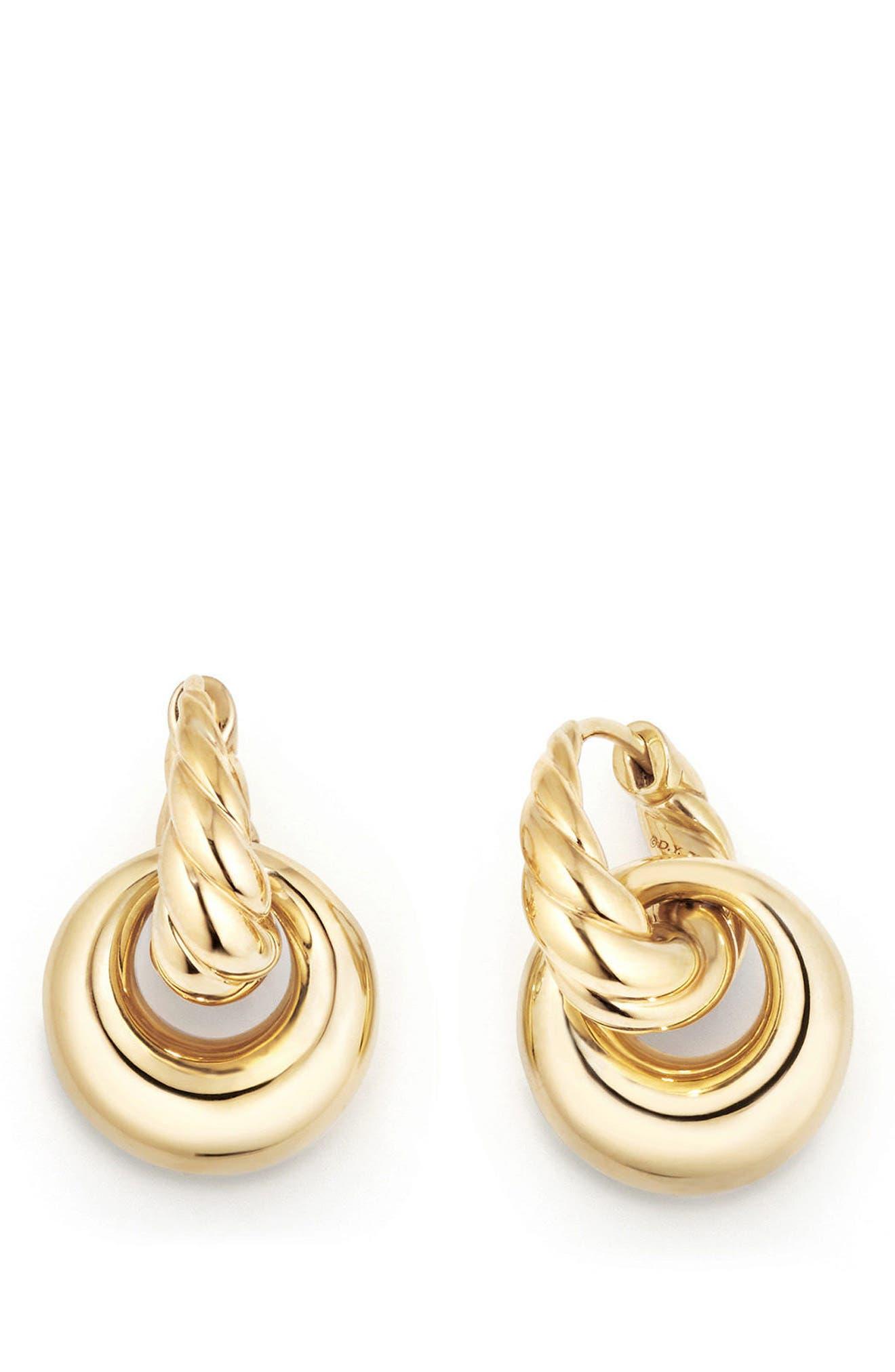 DAVID YURMAN, Pure Form<sup>®</sup> Drop Earrings in 18K Yellow Gold, Alternate thumbnail 2, color, YELLOW GOLD