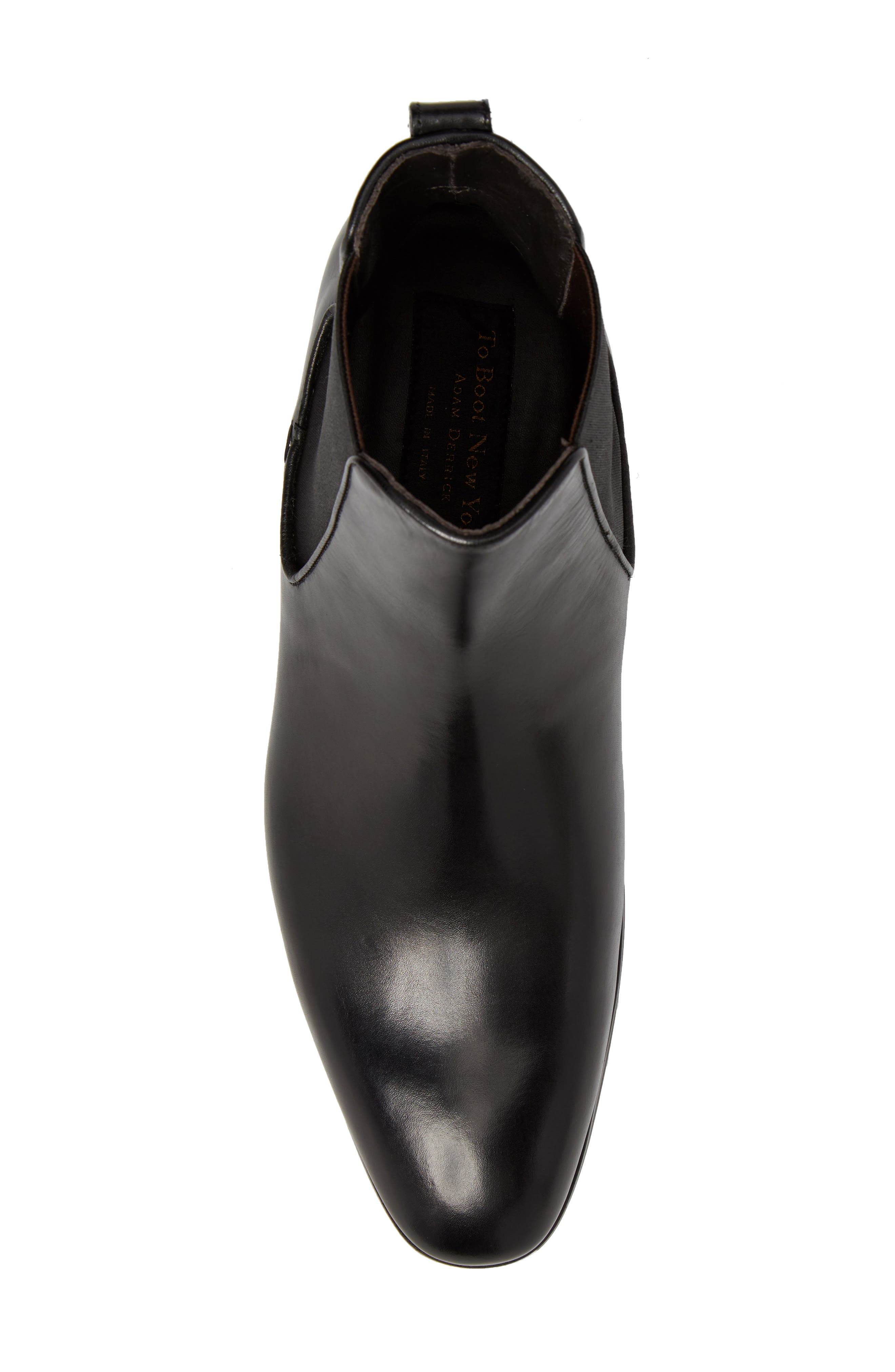 TO BOOT NEW YORK, Aldrich Mid Chelsea Boot, Alternate thumbnail 5, color, BLACK/ BLACK LEATHER