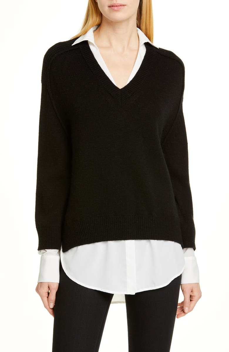 Brochu Walker Tops WOOL & CASHMERE LAYERED PULLOVER