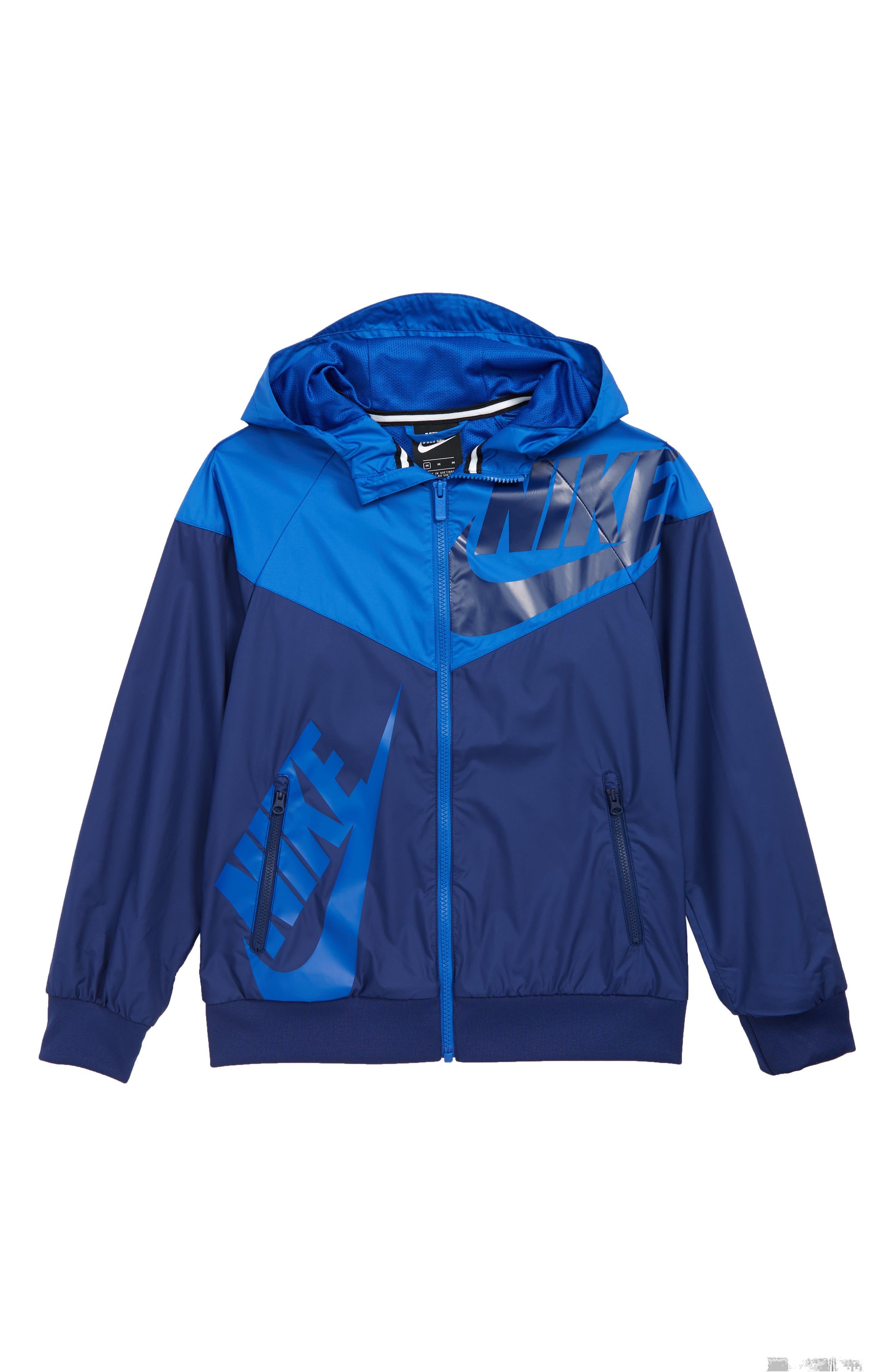 NIKE, Sportswear Windrunner Zip Jacket, Main thumbnail 1, color, BLUE VOID/ GAME ROYAL