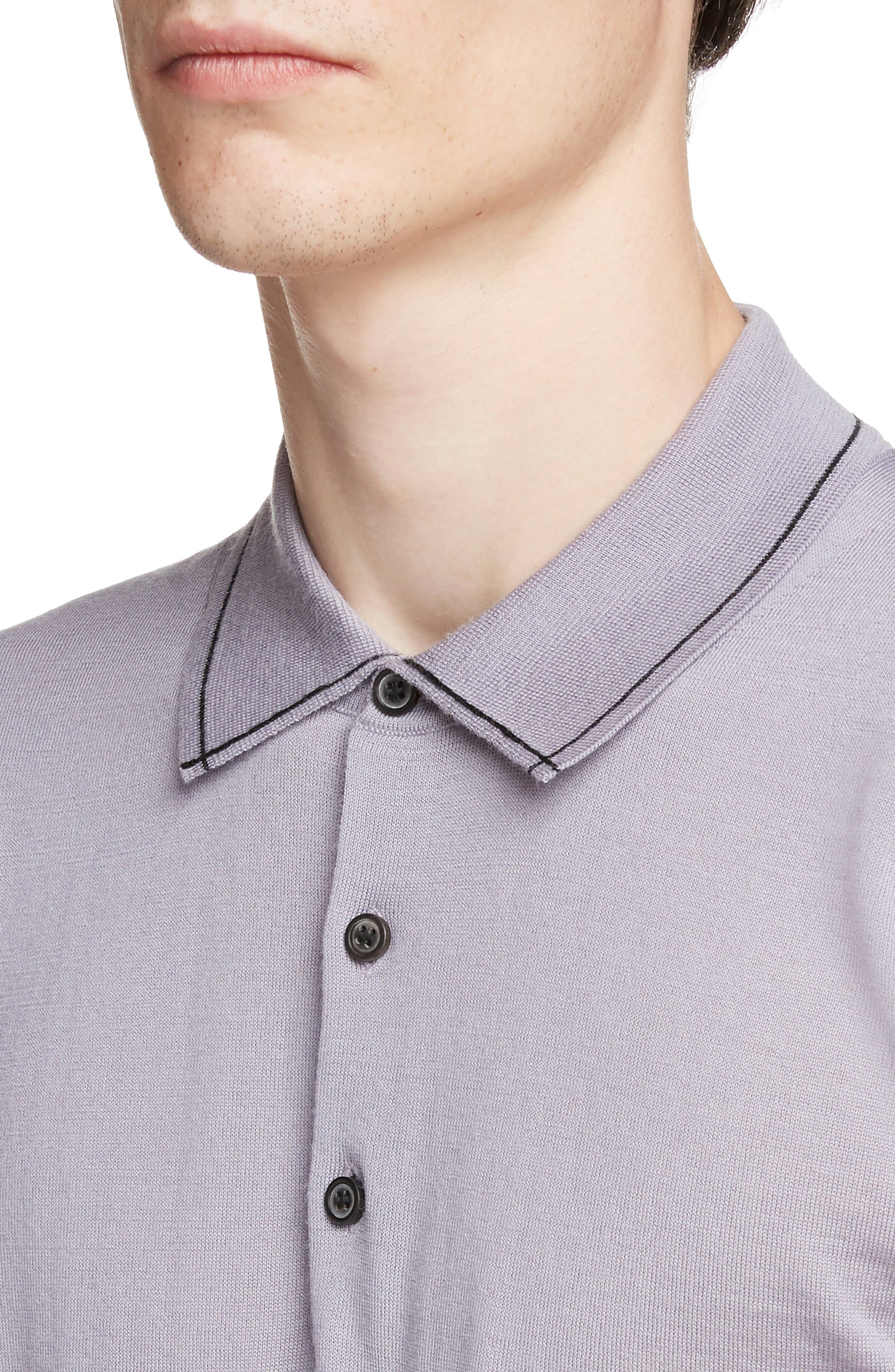 LANVIN, Piped Collar Wool Polo, Alternate thumbnail 4, color, LAVENDER