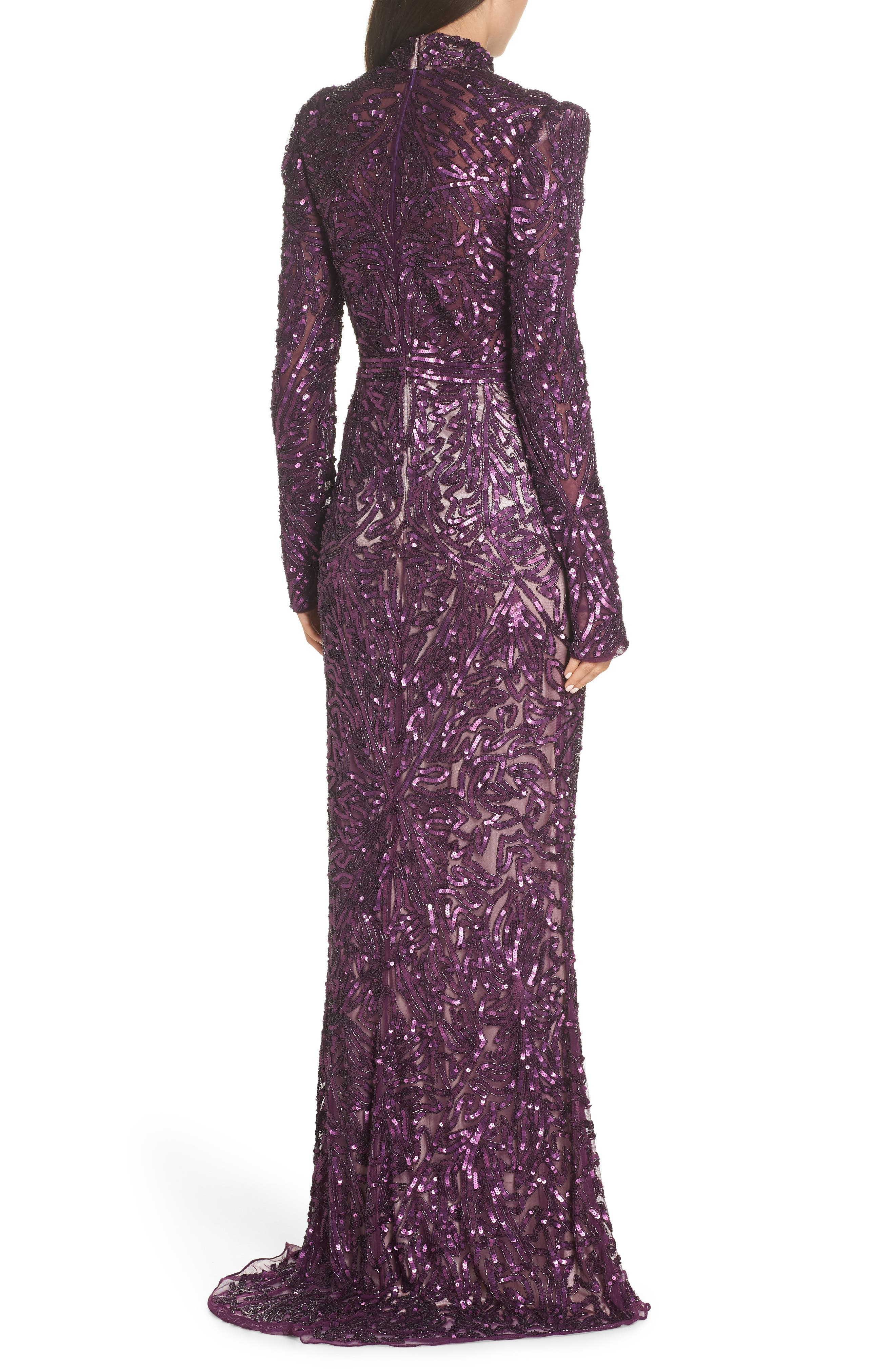 MAC DUGGAL, High Neck Sequin Gown with Train, Alternate thumbnail 2, color, AUBERGINE