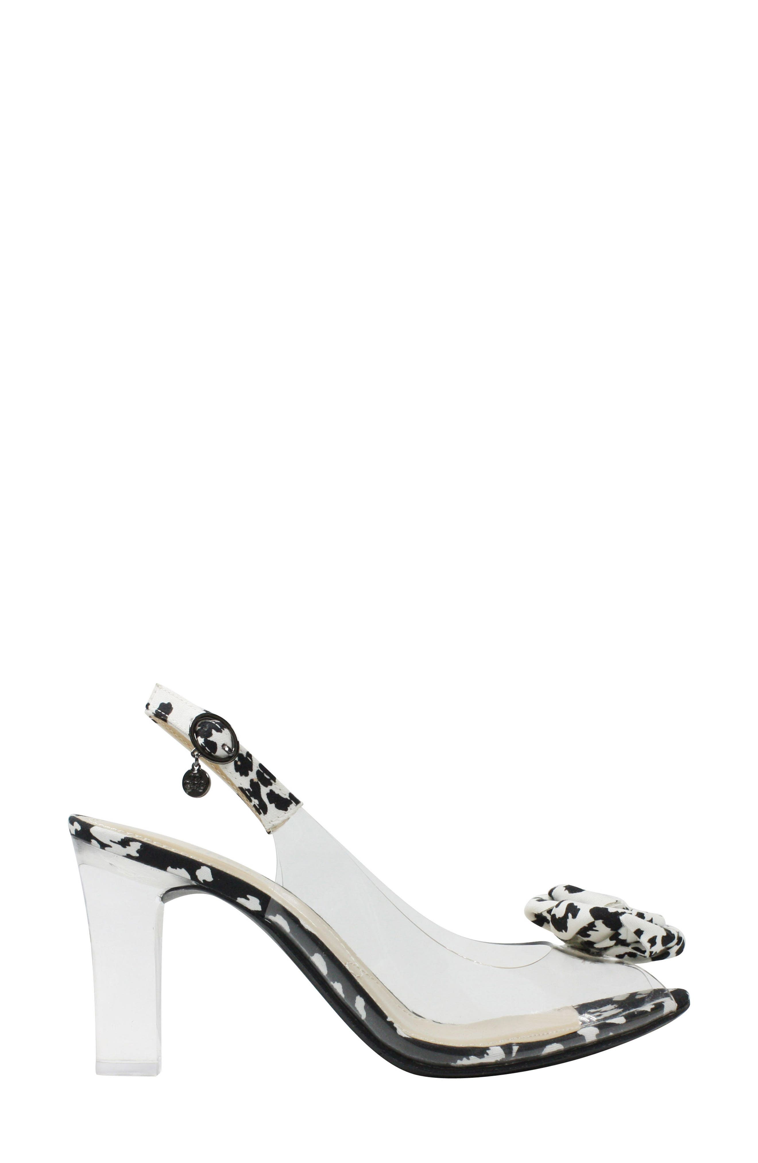 J. RENEÉ, Adoracion Slingback Sandal, Alternate thumbnail 3, color, CLEAR/ BLACK/ WHITE