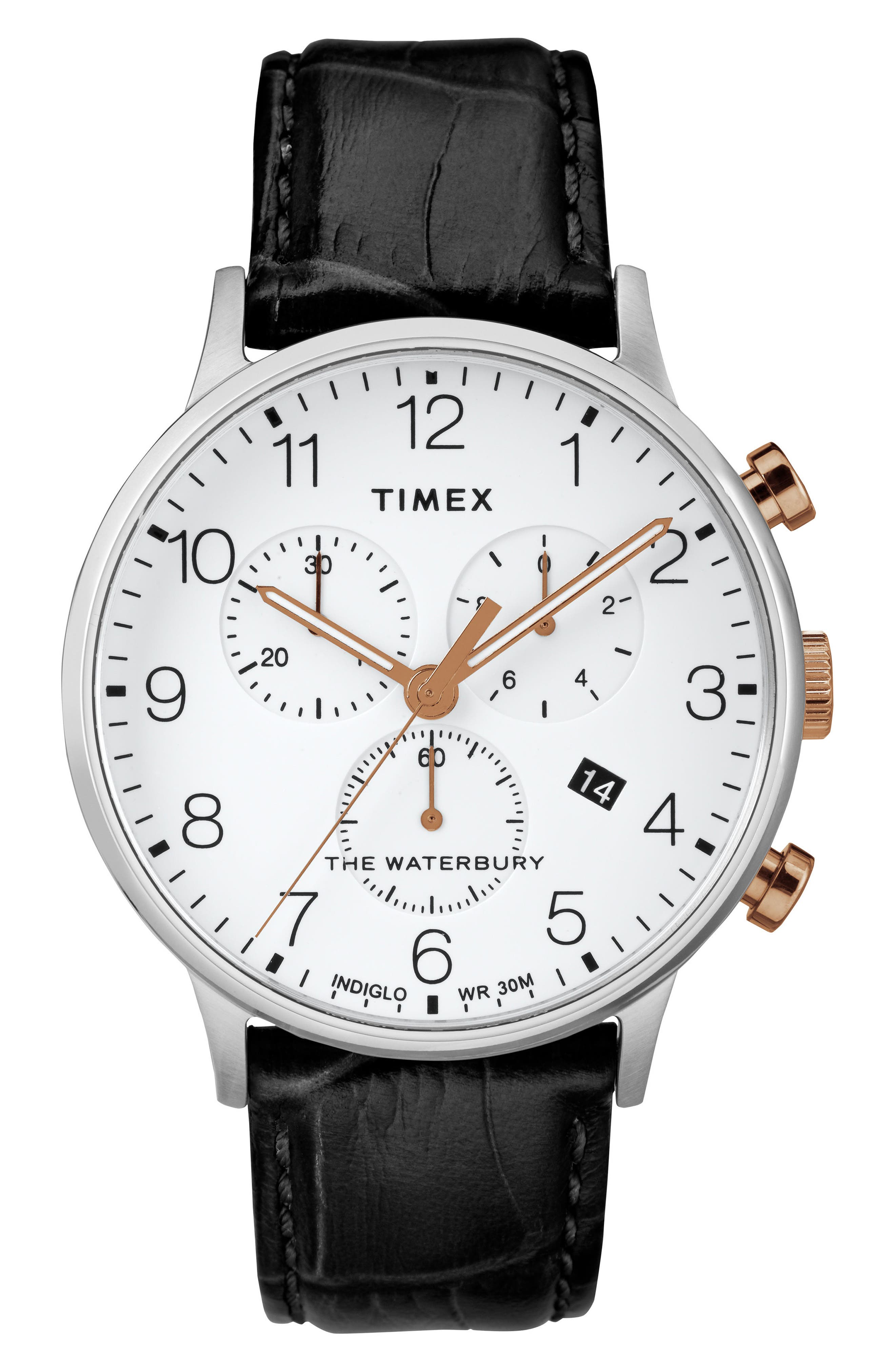 TIMEX<SUP>®</SUP> Waterbury Chronograph Leather Strap Watch, 40mm, Main, color, BLACK/ WHITE/ SILVER