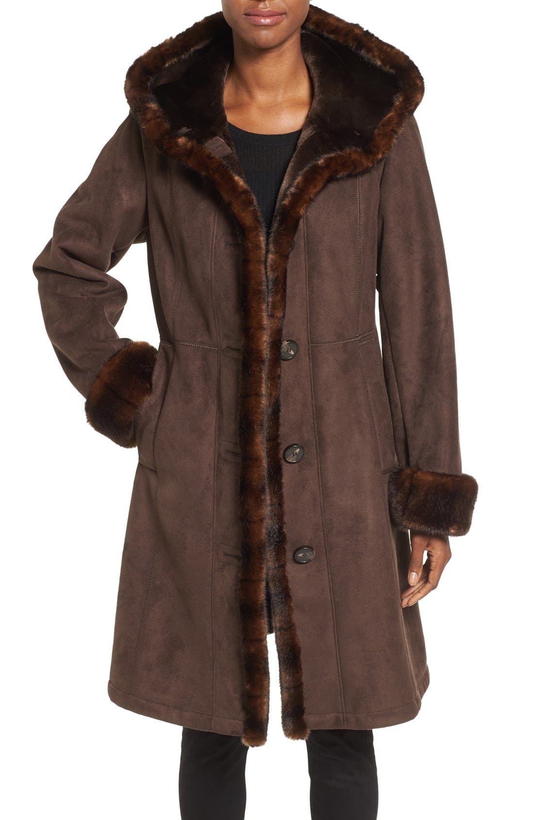 GALLERY, Hooded Faux Shearling Long A-Line Coat, Main thumbnail 1, color, CHOCOLATE