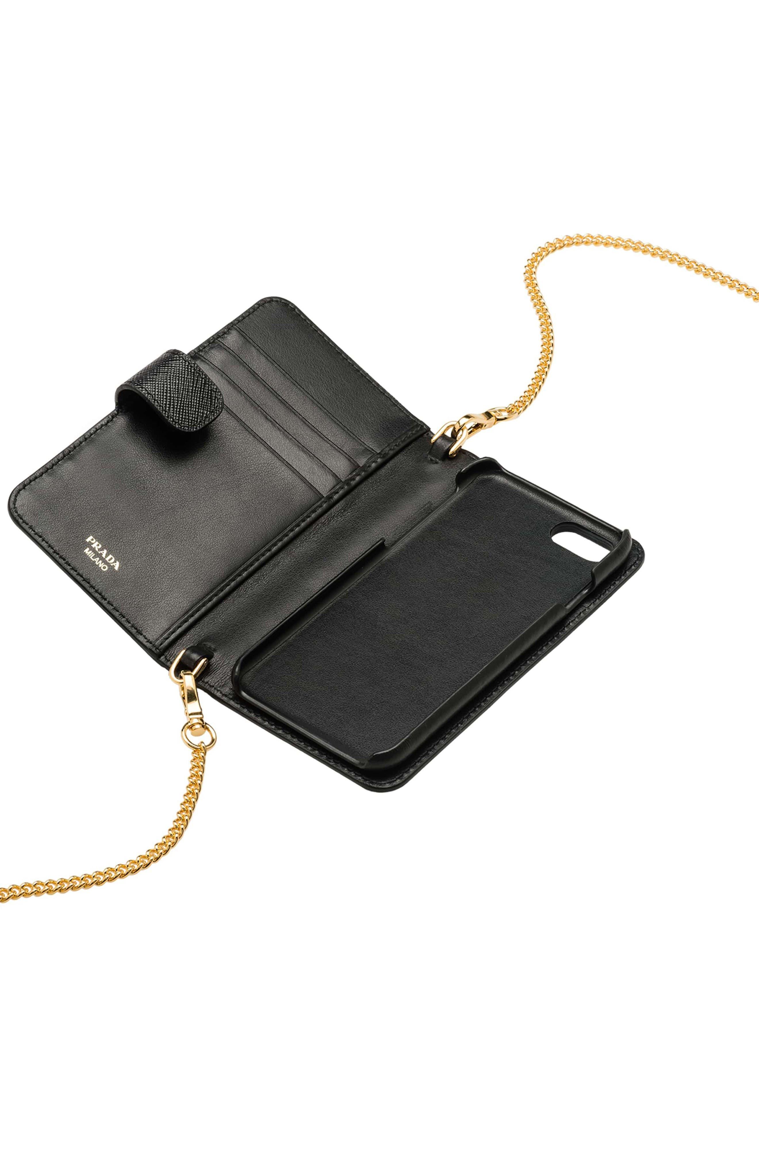 PRADA, Saffiano Metal Oro Chain Book Phone Wallet, Alternate thumbnail 2, color, 001