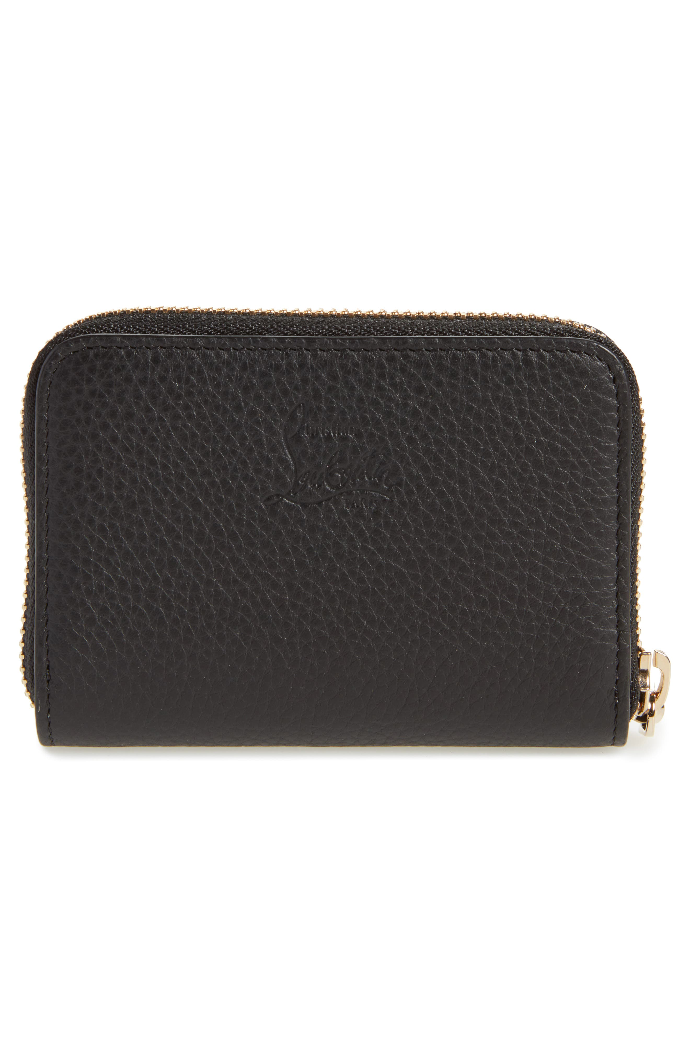 CHRISTIAN LOUBOUTIN, Panettone Leather Coin Purse, Alternate thumbnail 4, color, BLACK/ GOLD