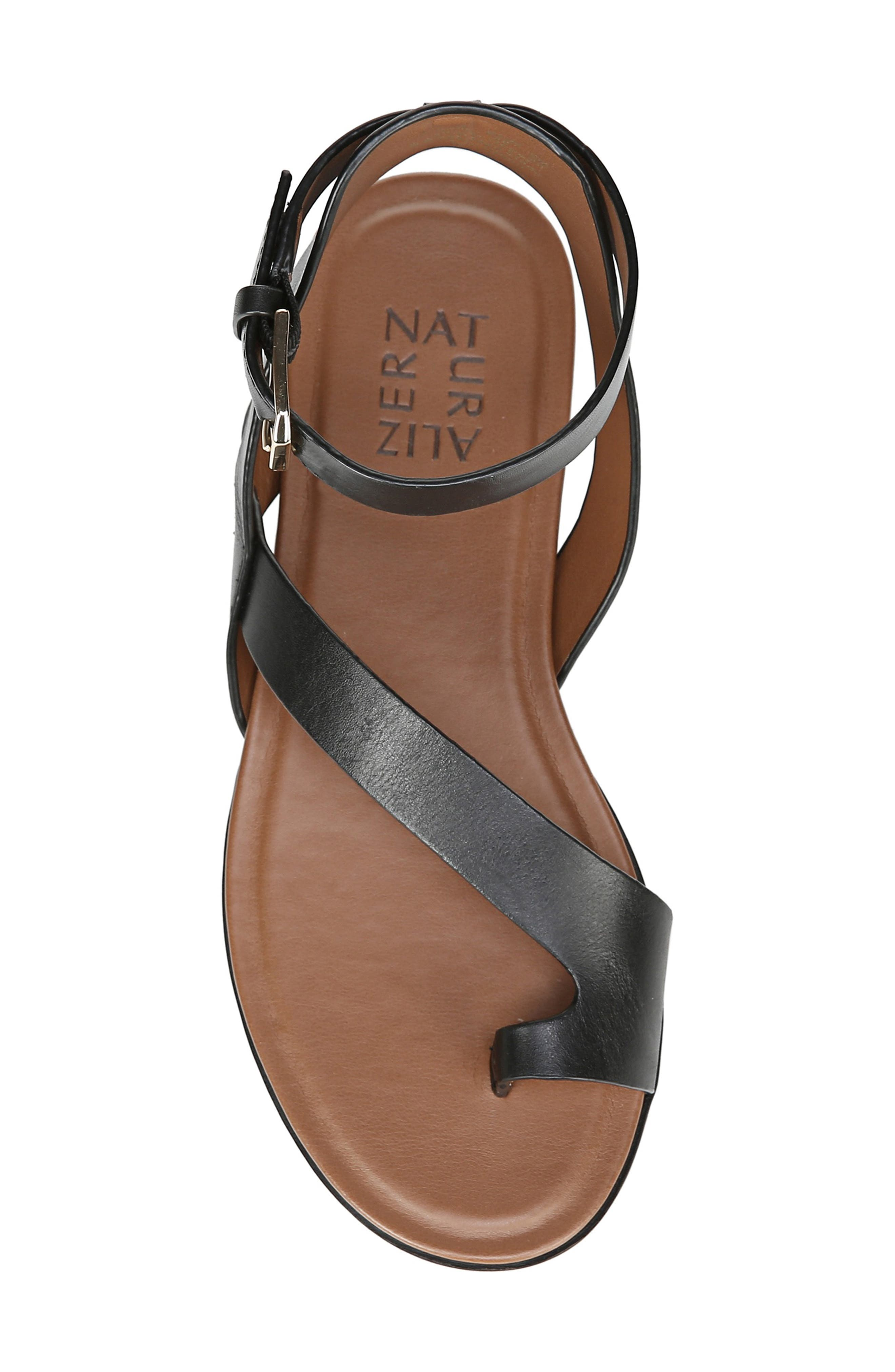 NATURALIZER, Tally Ankle Strap Sandal, Alternate thumbnail 5, color, BLACK LEATHER