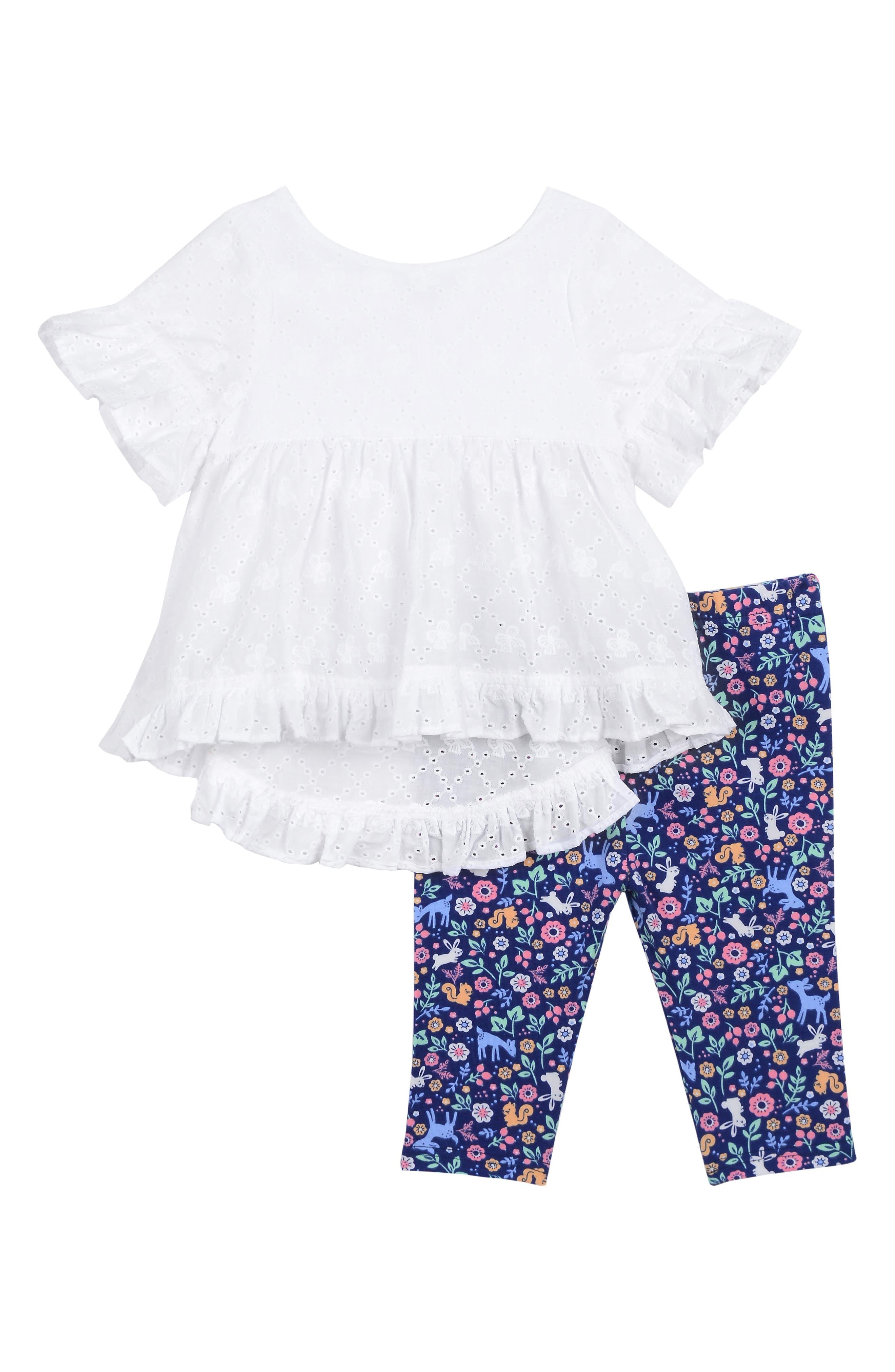 PASTOURELLE BY PIPPA & JULIE, Eyelet Ruffle Top & Floral Leggings Set, Main thumbnail 1, color, WHITE
