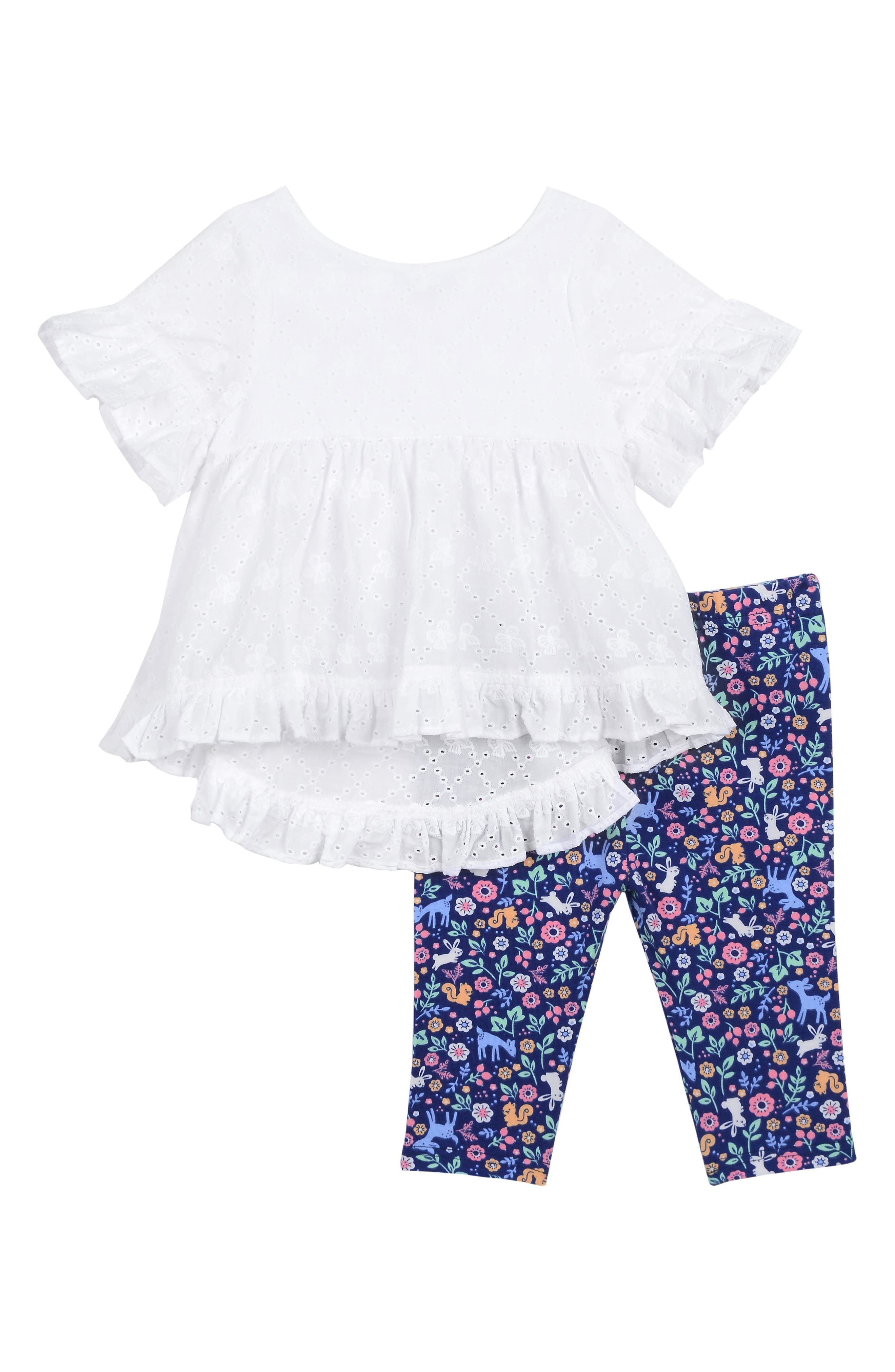 PASTOURELLE BY PIPPA & JULIE Eyelet Ruffle Top & Floral Leggings Set, Main, color, WHITE