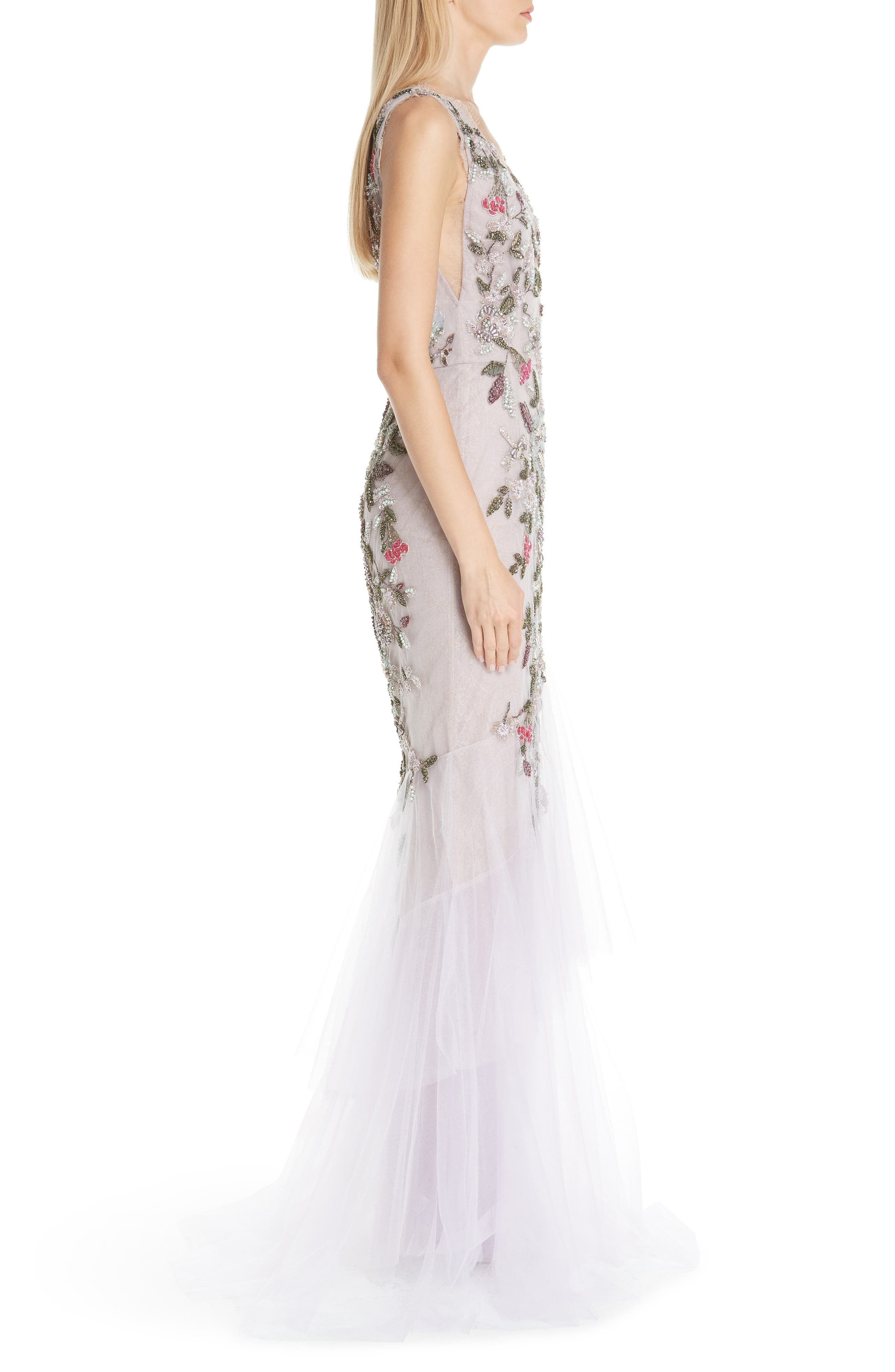 MARCHESA, Embroidered Floral Evening Dress, Alternate thumbnail 3, color, LILAC