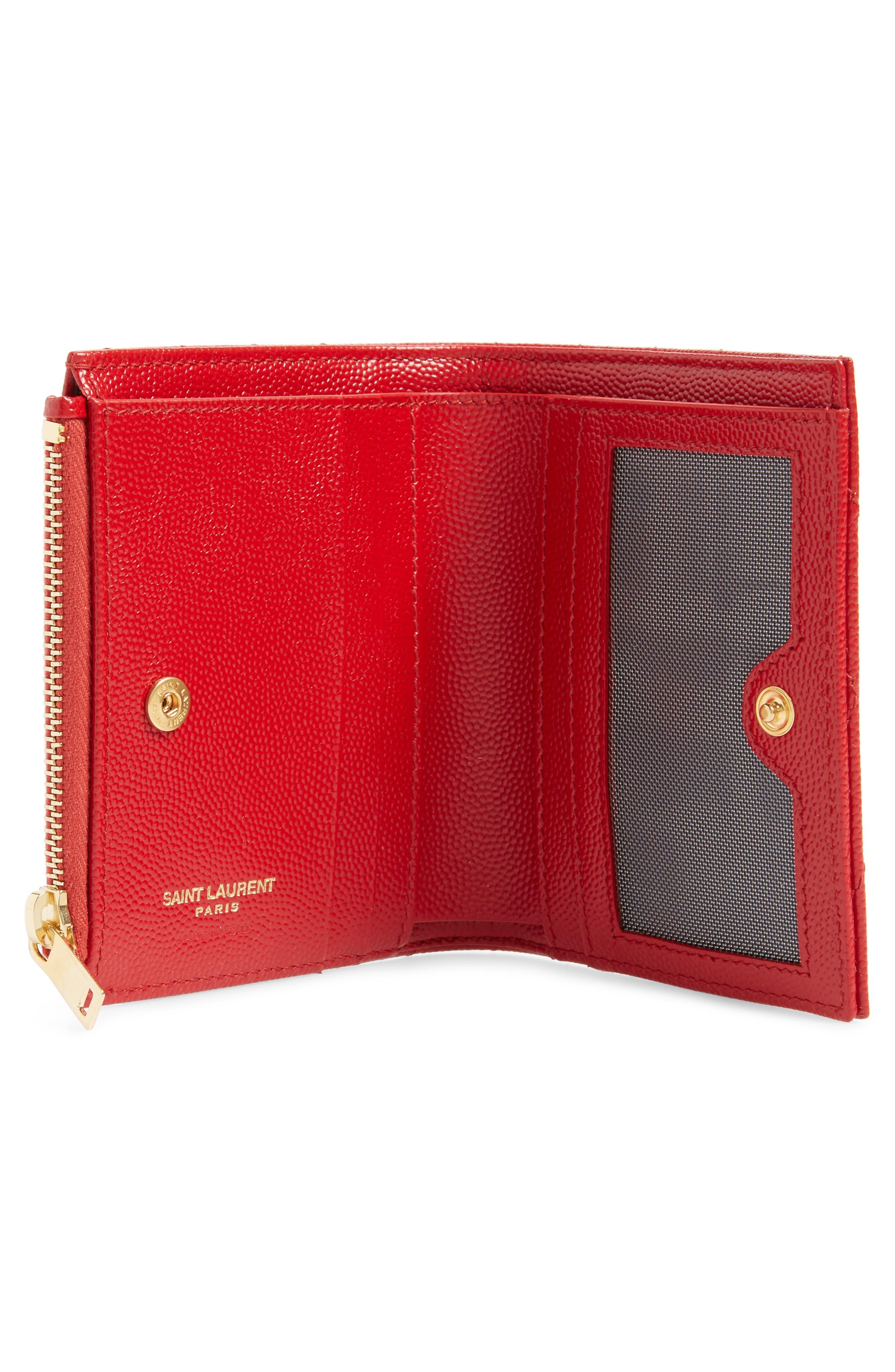 SAINT LAURENT, Monogram Leather Card Case, Alternate thumbnail 2, color, BANDANA RED
