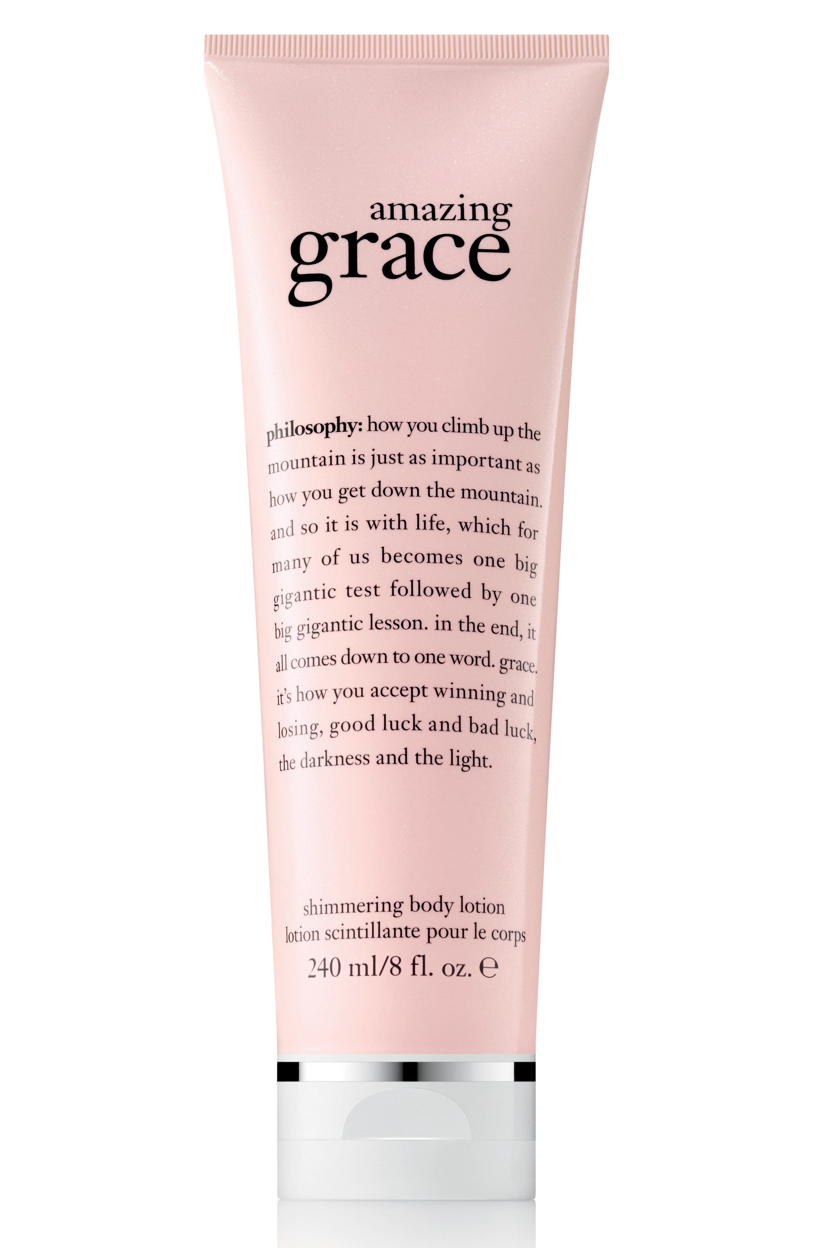 PHILOSOPHY, amazing grace shimmering body lotion, Main thumbnail 1, color, 000