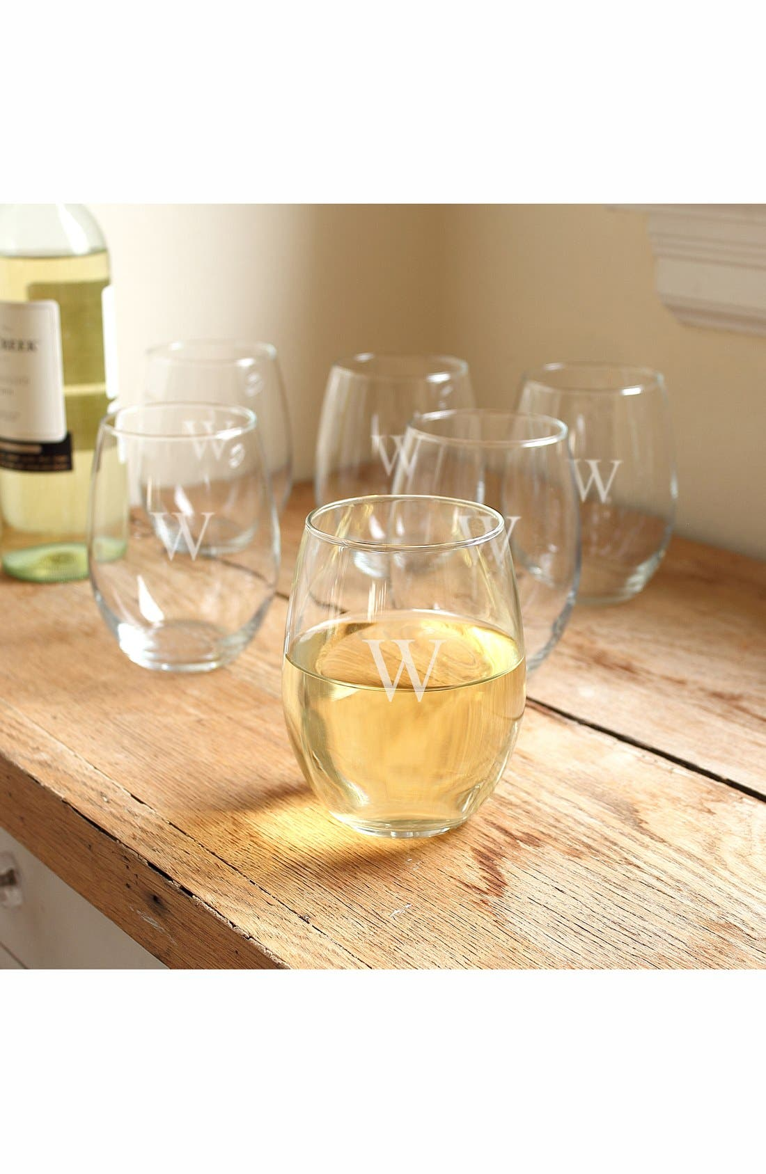 CATHY'S CONCEPTS, Set of 6 Monogram Stemless Wine Glasses, Main thumbnail 1, color, W