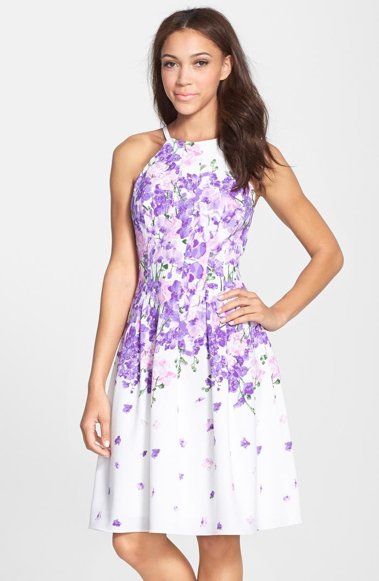 596932f471 'Garden Party' Print Crepe Fit & Flare Dress