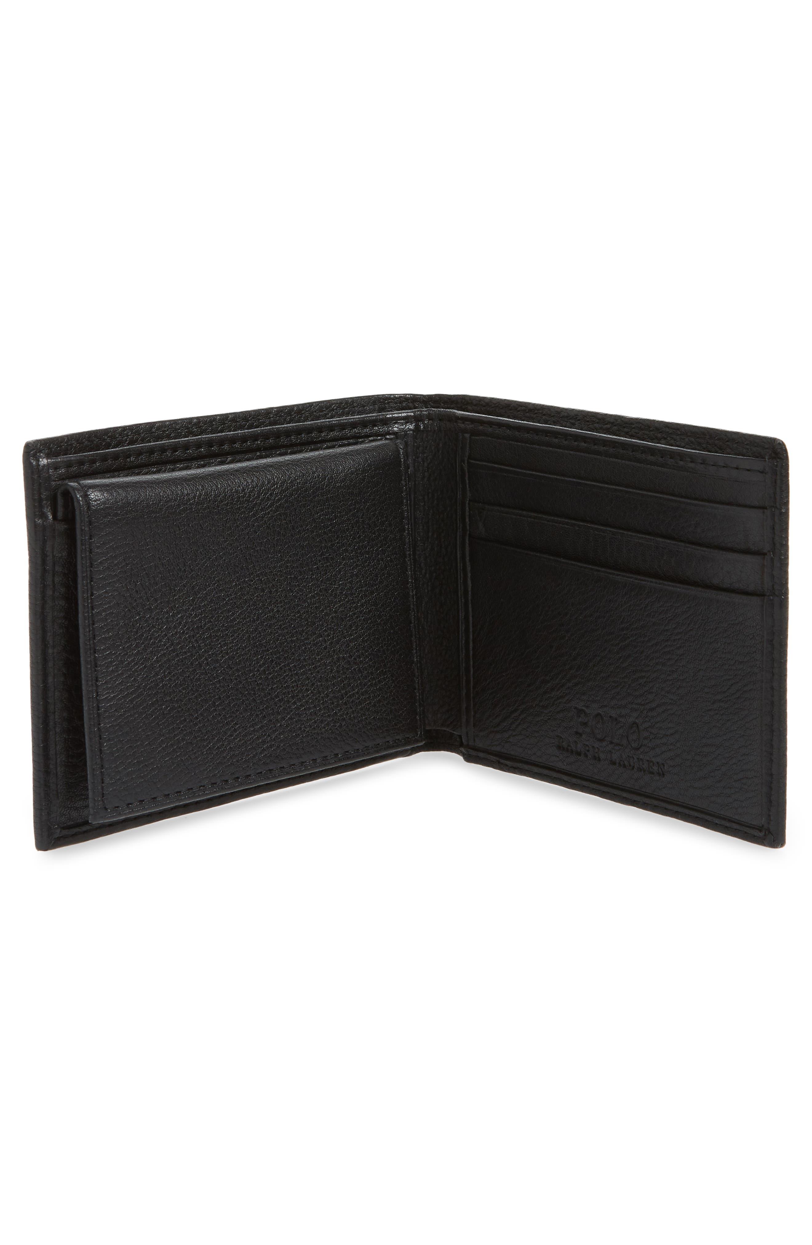 POLO RALPH LAUREN, Leather Passcase Wallet, Alternate thumbnail 2, color, BLACK
