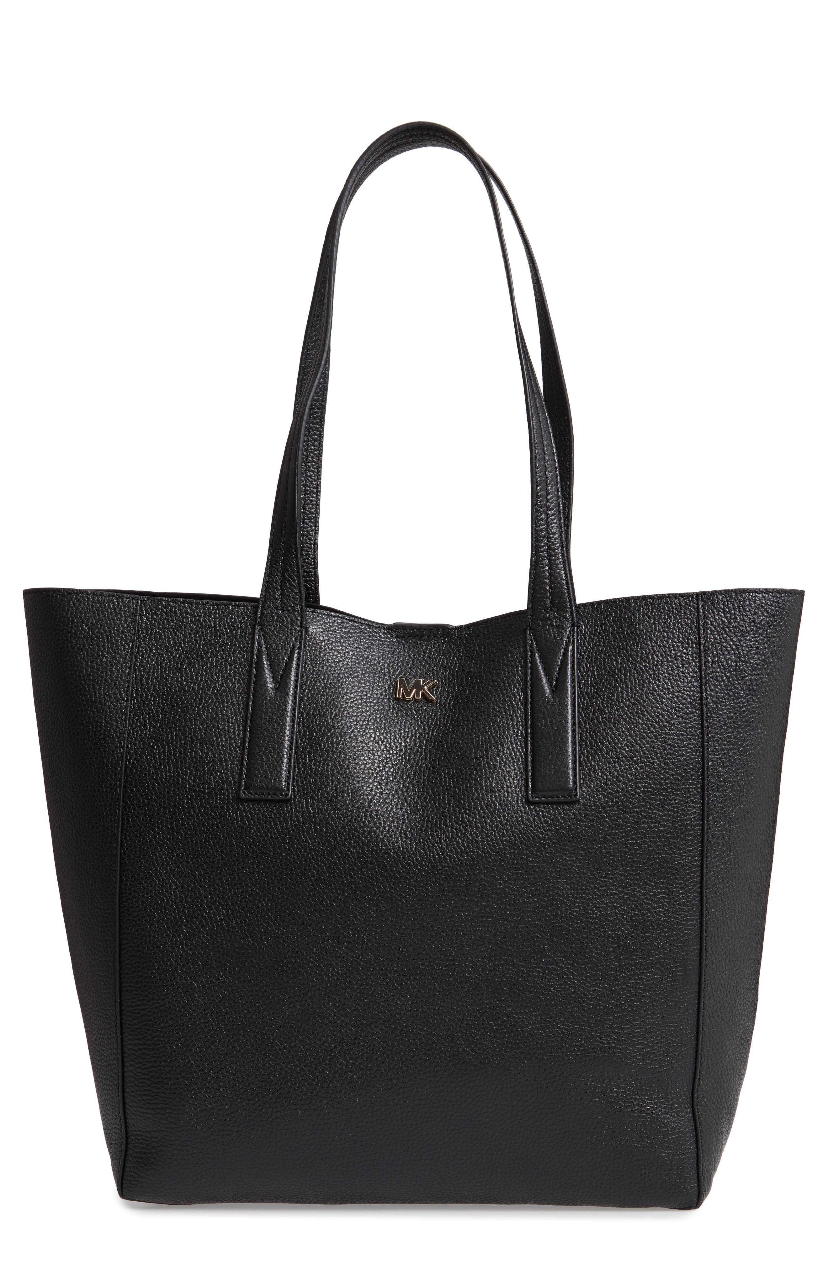 MICHAEL MICHAEL KORS, Large Leather Tote, Main thumbnail 1, color, 001