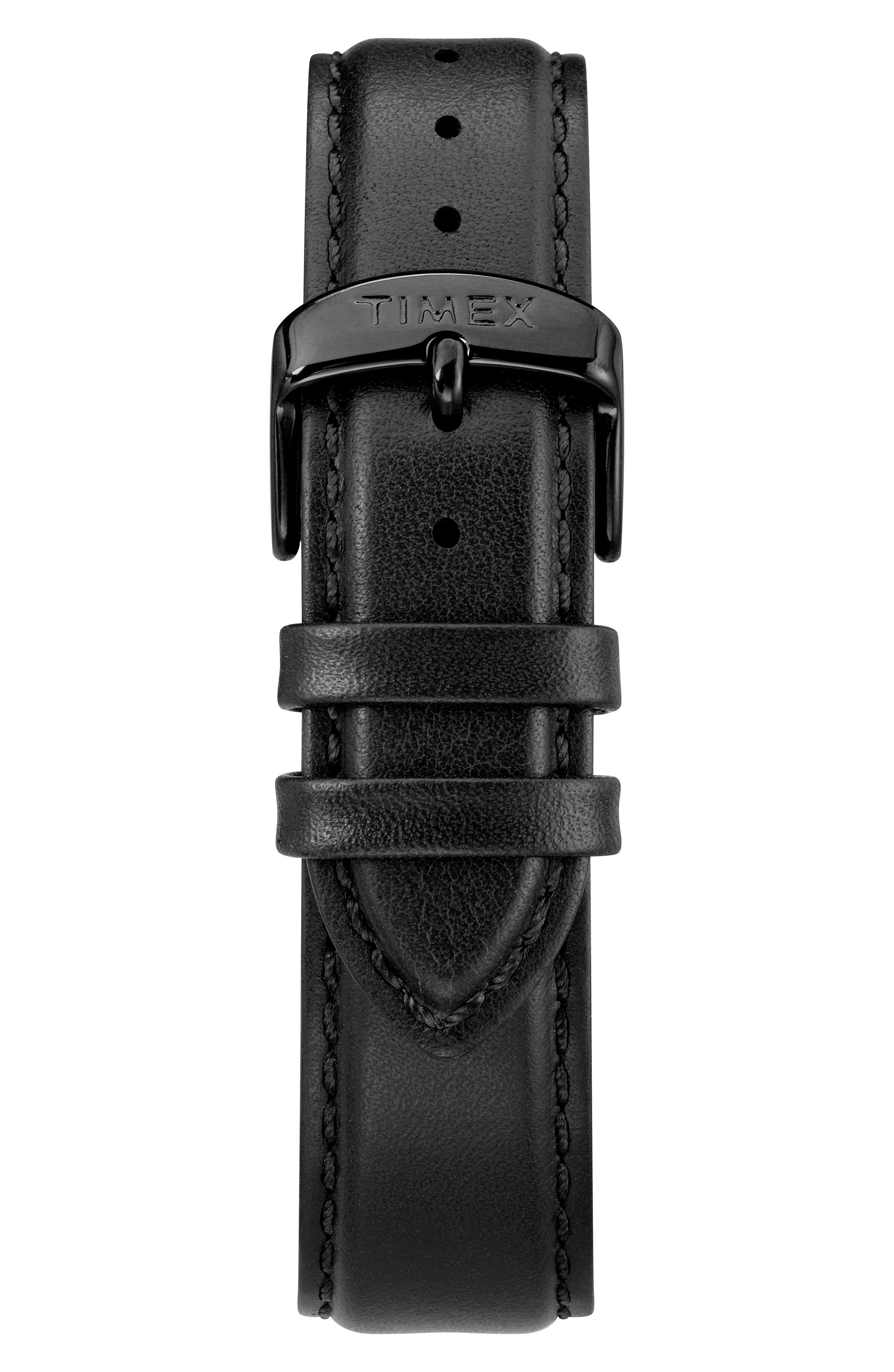 TIMEX<SUP>®</SUP>, Waterbury Chronograph Leather Strap Watch, 40mm, Alternate thumbnail 2, color, BLACK/ WHITE/ BLACK