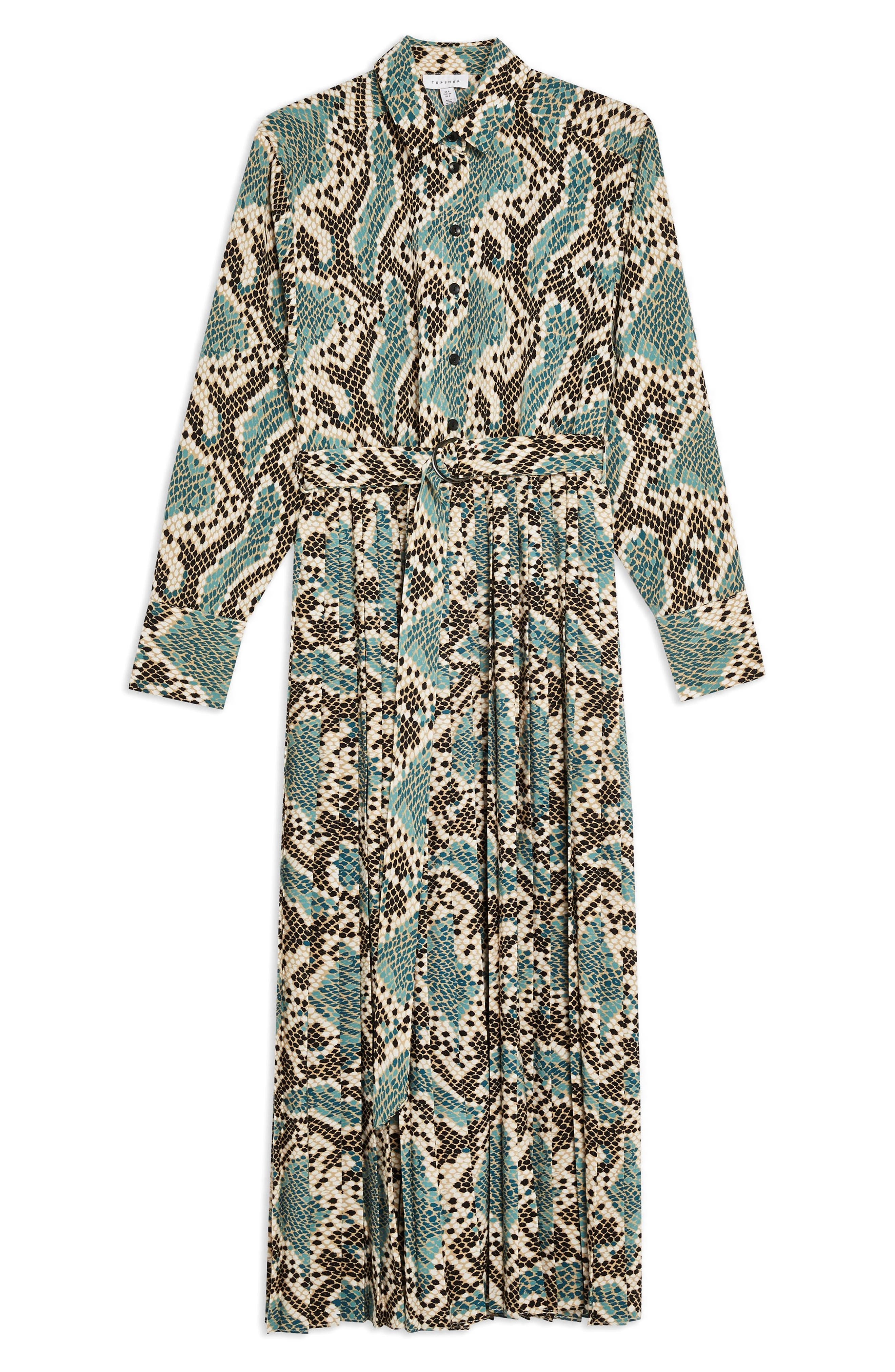 TOPSHOP, Python Pleated Shirtdress, Alternate thumbnail 4, color, BLUE MULTI